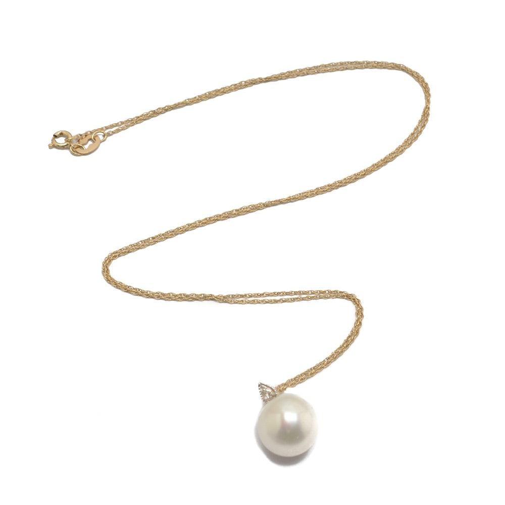 14K Yellow Gold Pearl and Diamond Necklace