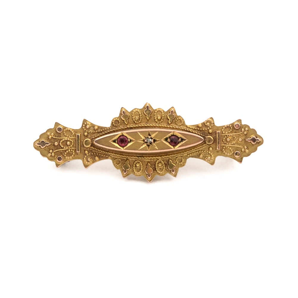 Antique 9K Gold Victorian Mourning Brooch