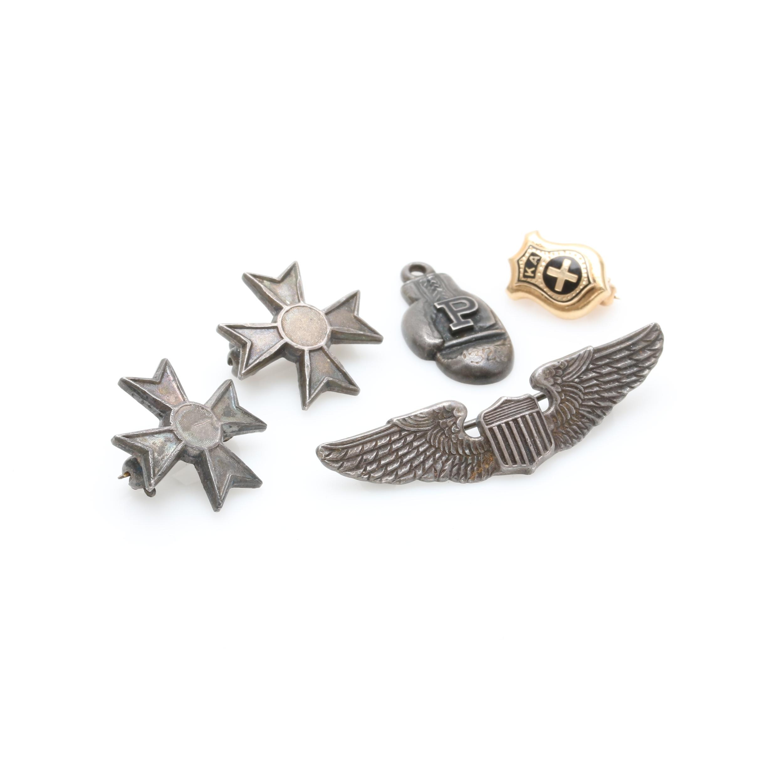 10K Yellow Gold and Sterling Silver Service Pins and Charm