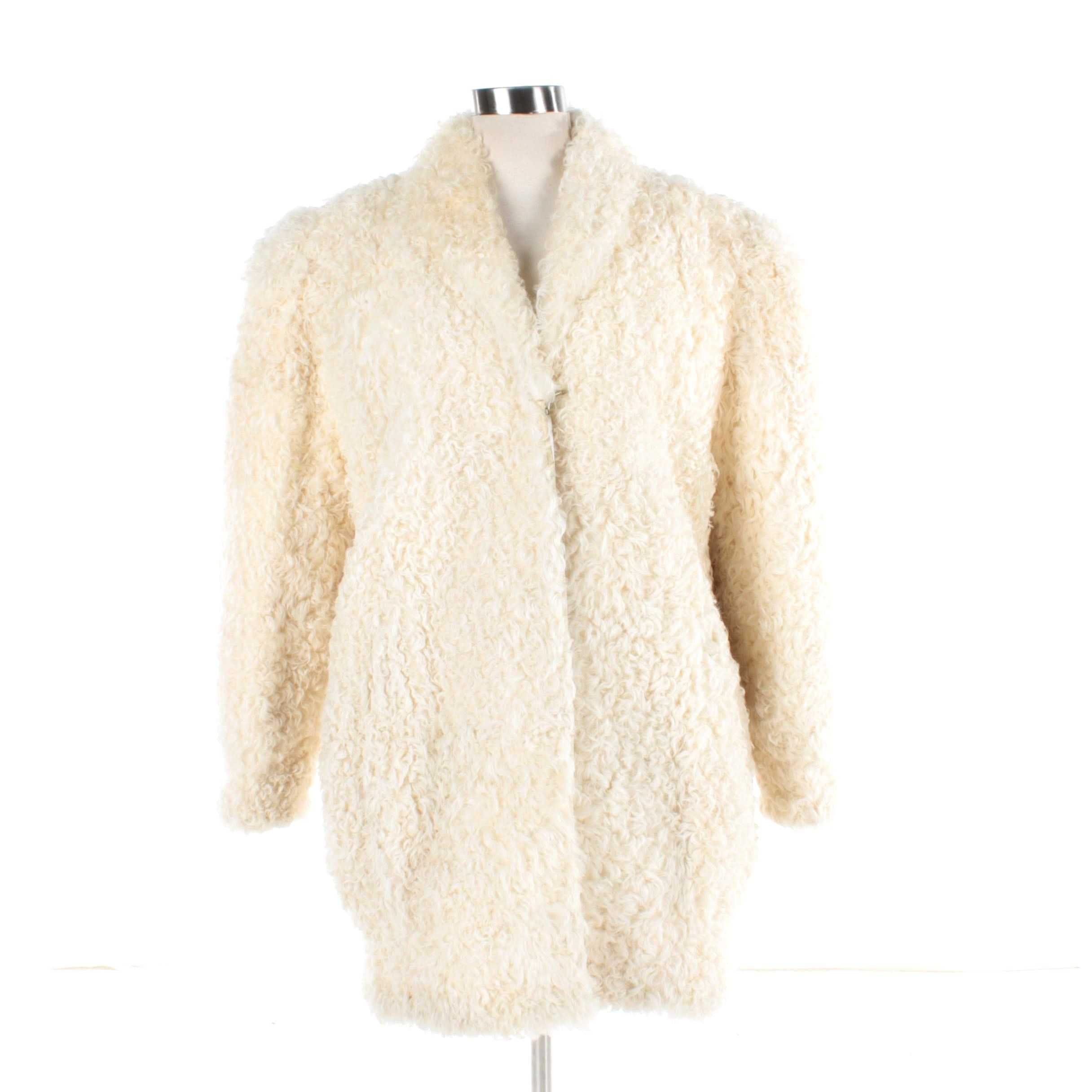 Women's Vintage Curly Lamb Fur Coat