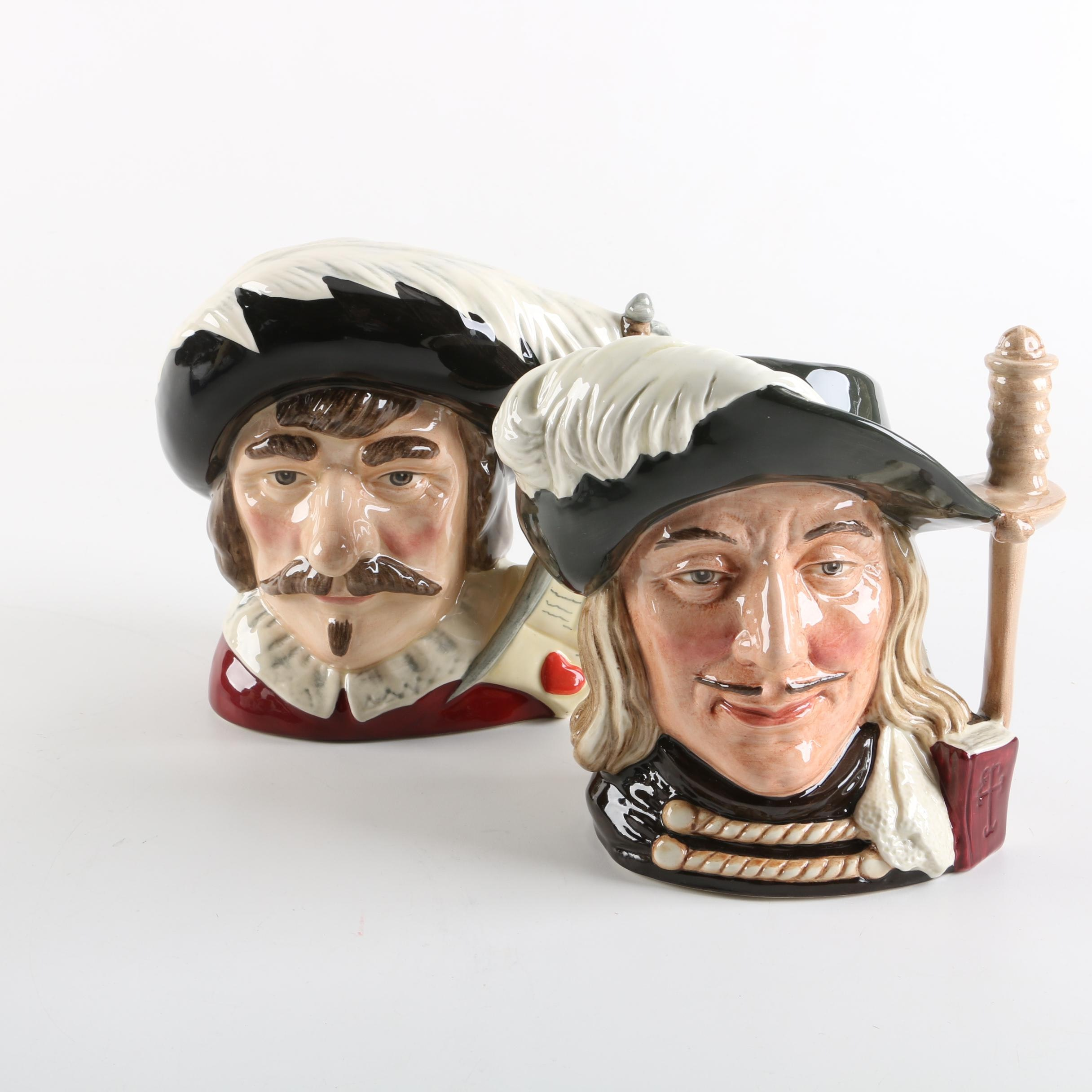 """Royal Doulton Character Jugs """"Cyrano de Bergerac"""" D7004 and """"Aramis"""" D6441"""