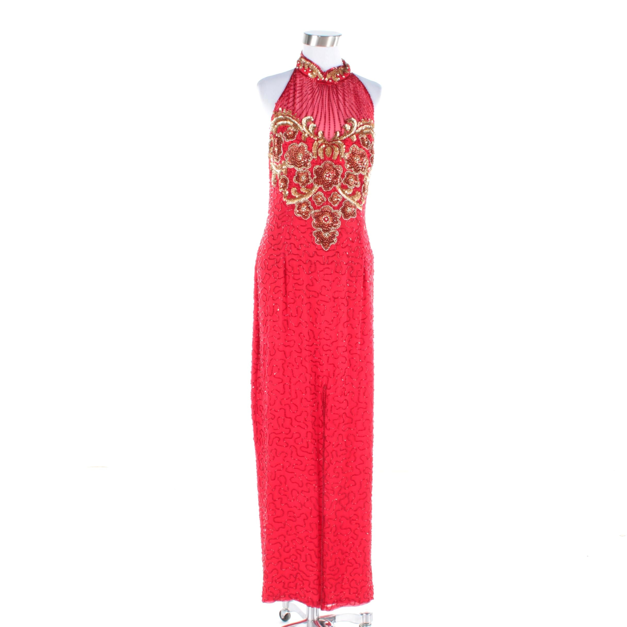 Vintage Alvce Designs Red Beaded Silk Halter Dress