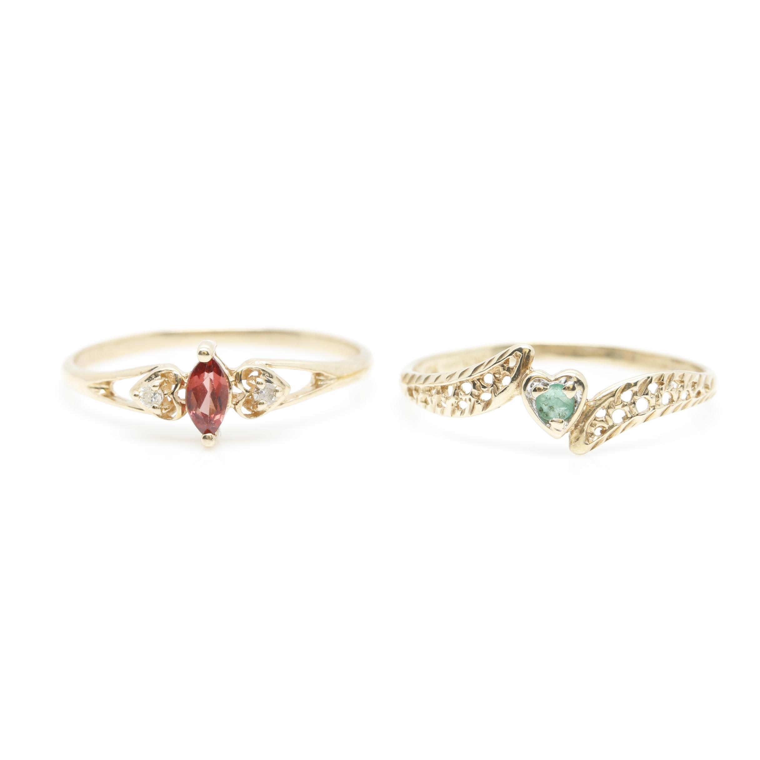 Pair of 10K Yellow Gold Emerald, Garnet and Diamond Rings