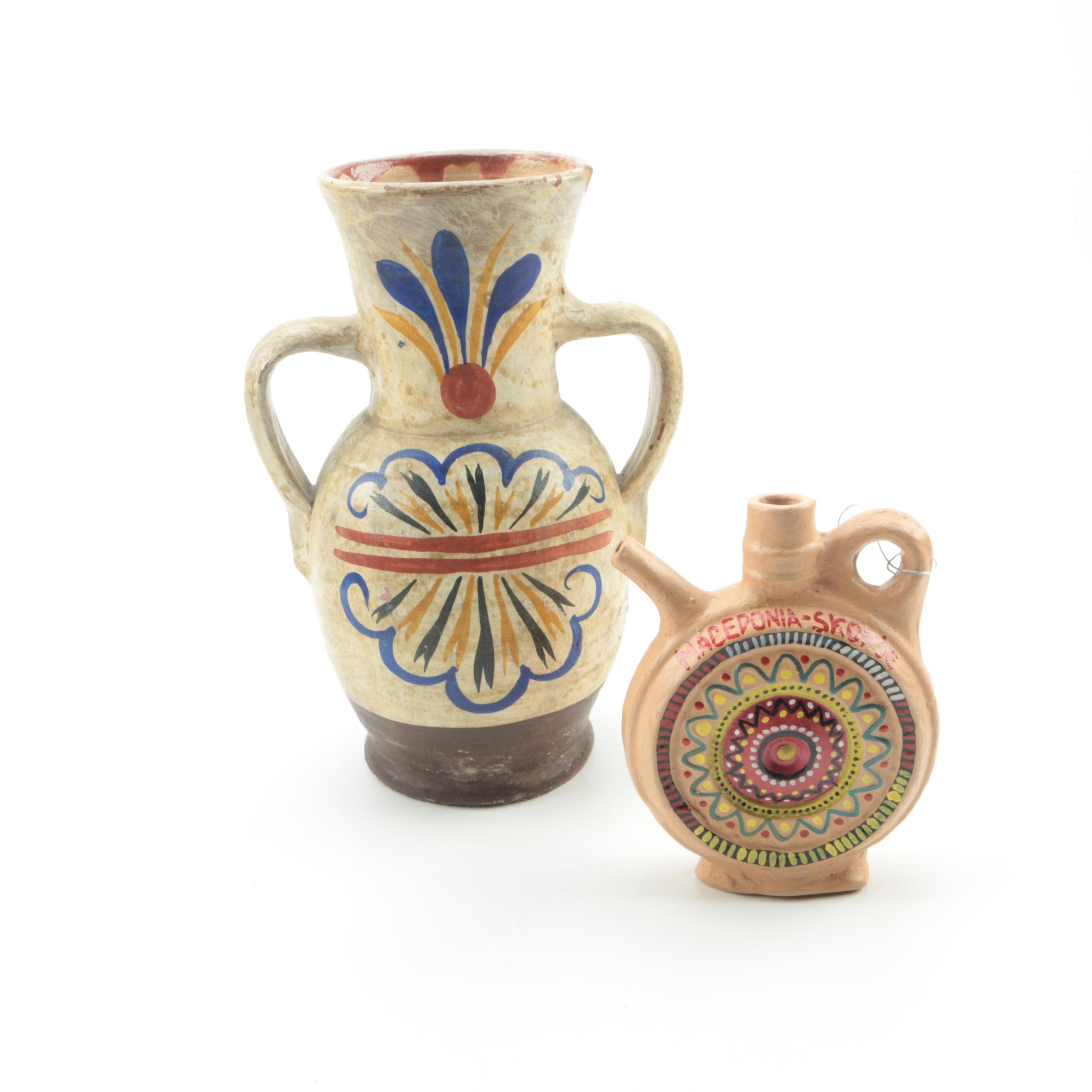 Hand Thrown Stoneware Vase and Jug