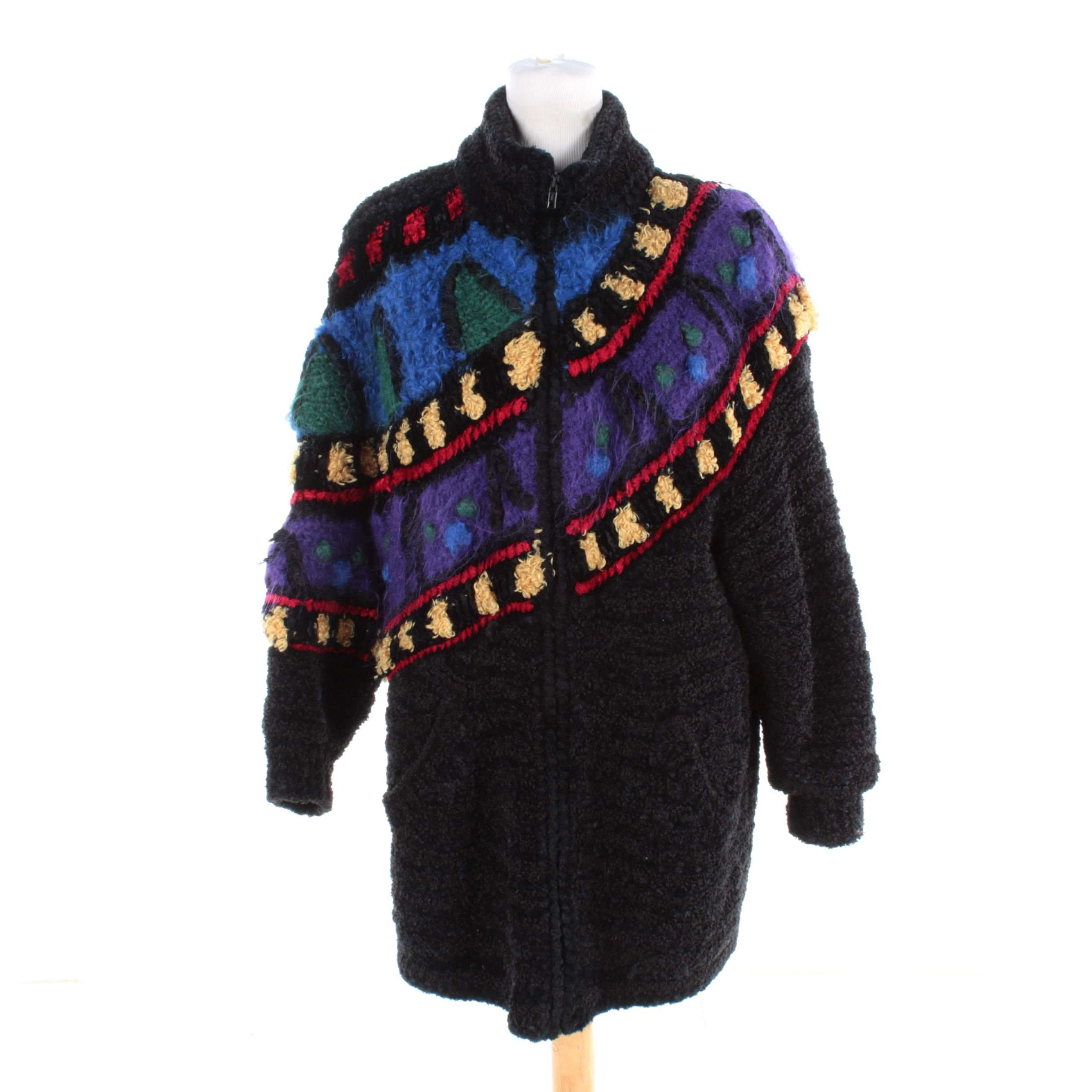 Women's Vintage Norma of Canada Multicolored Wool Blend Knit Jacket