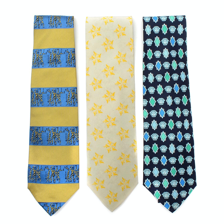 Three Italian Designer Silk Neckties