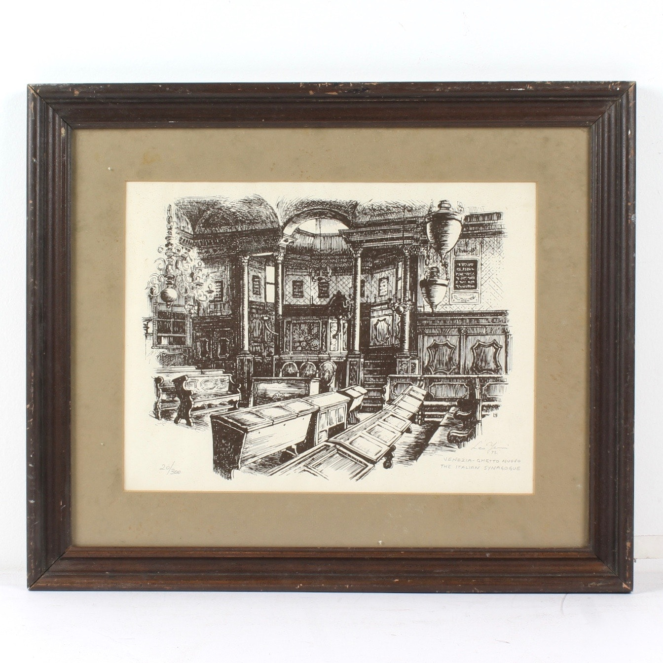 "Leo Yeni 1972 Lithograph ""Venezia Ghetto Nuovo, The Italian Synogogue"""