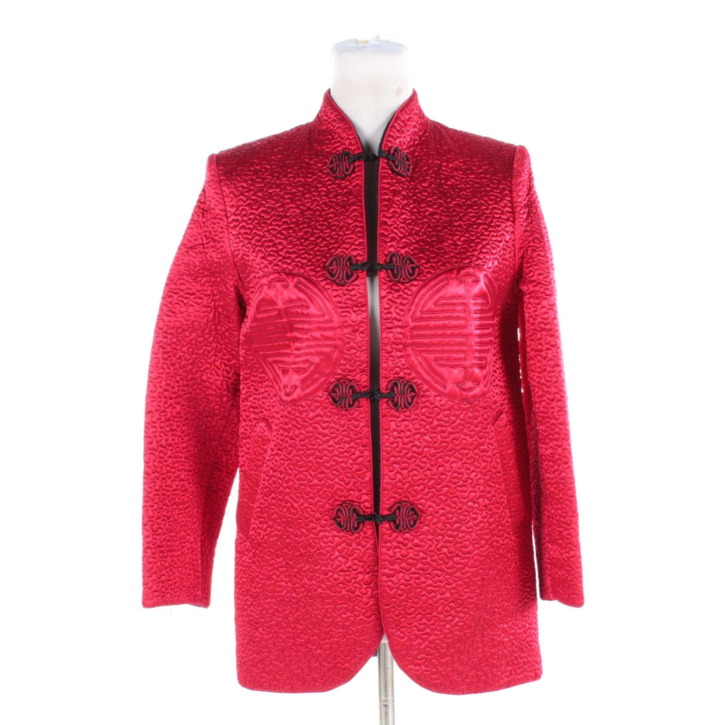 Women's Chinese Inspired Reversible Black and Red Quilted Satin Jacket