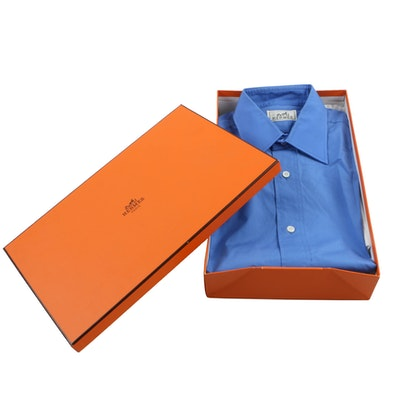 Hermès French Blue Cotton Dress Shirt