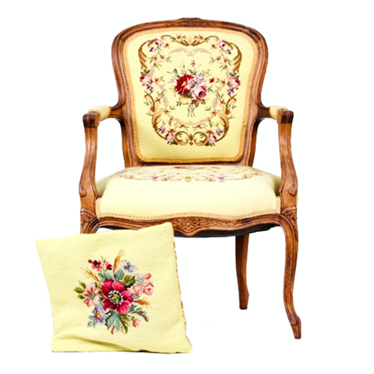 Louis XV Style Upholstered Needlepoint Armchair