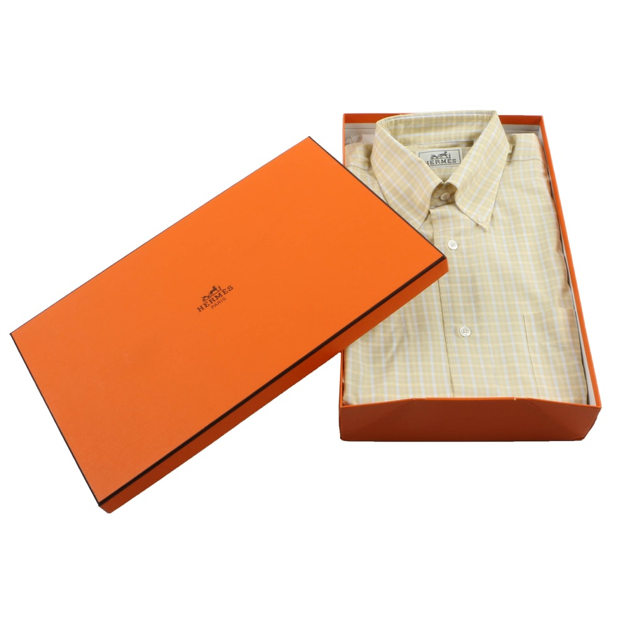 Hermès Yellow Plaid Button Down Dress Shirt