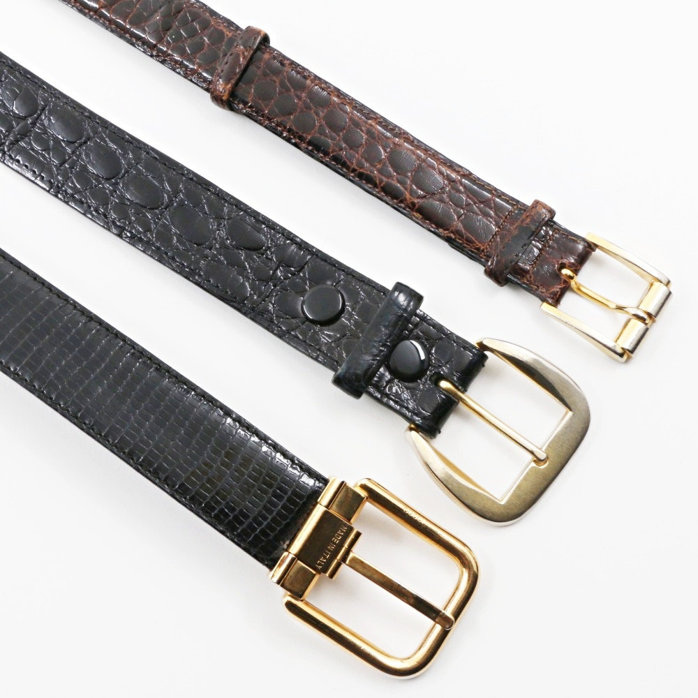 Three Gucci Mens Crocodile and Lizard Skin Belts