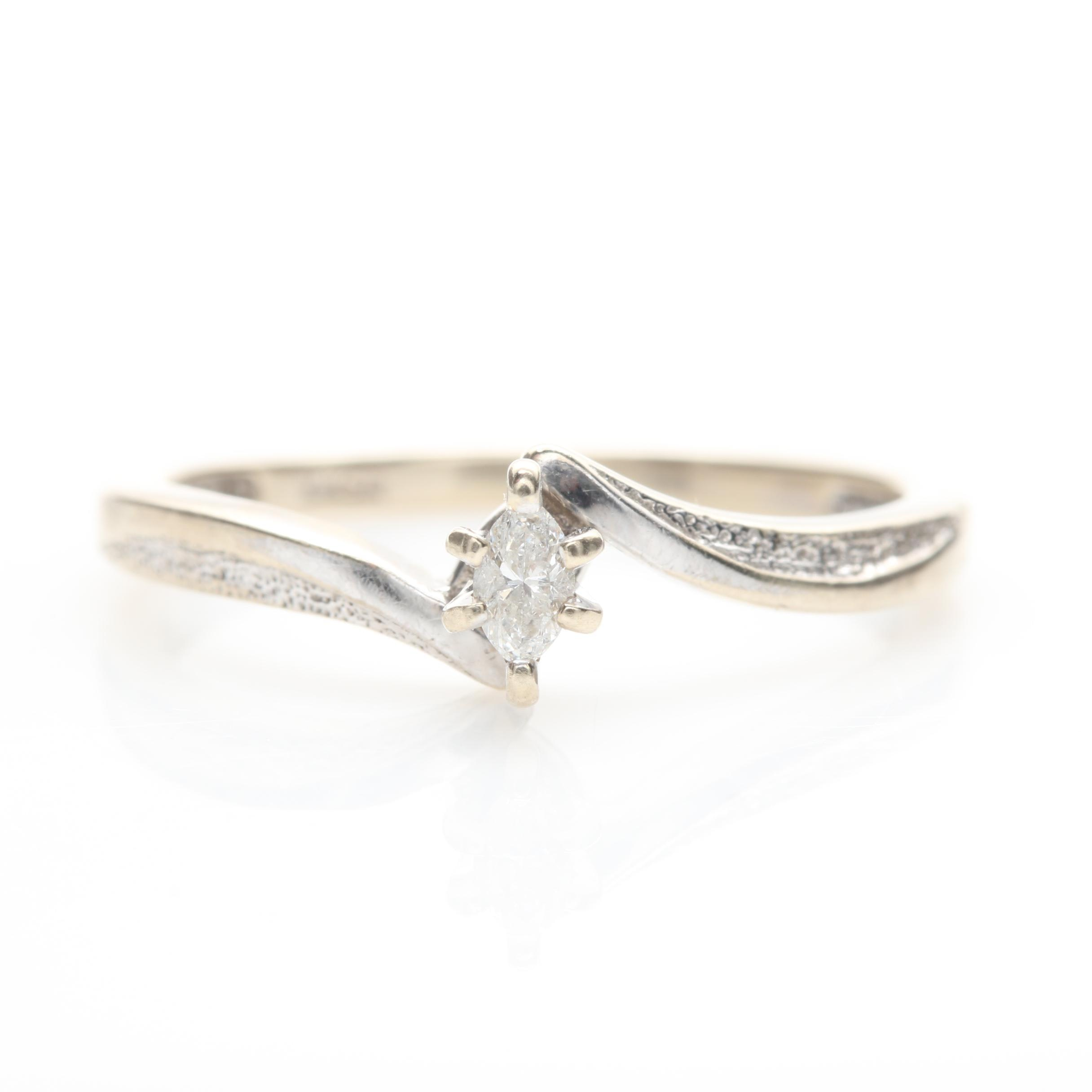 10K White Gold Diamond Bypass Ring