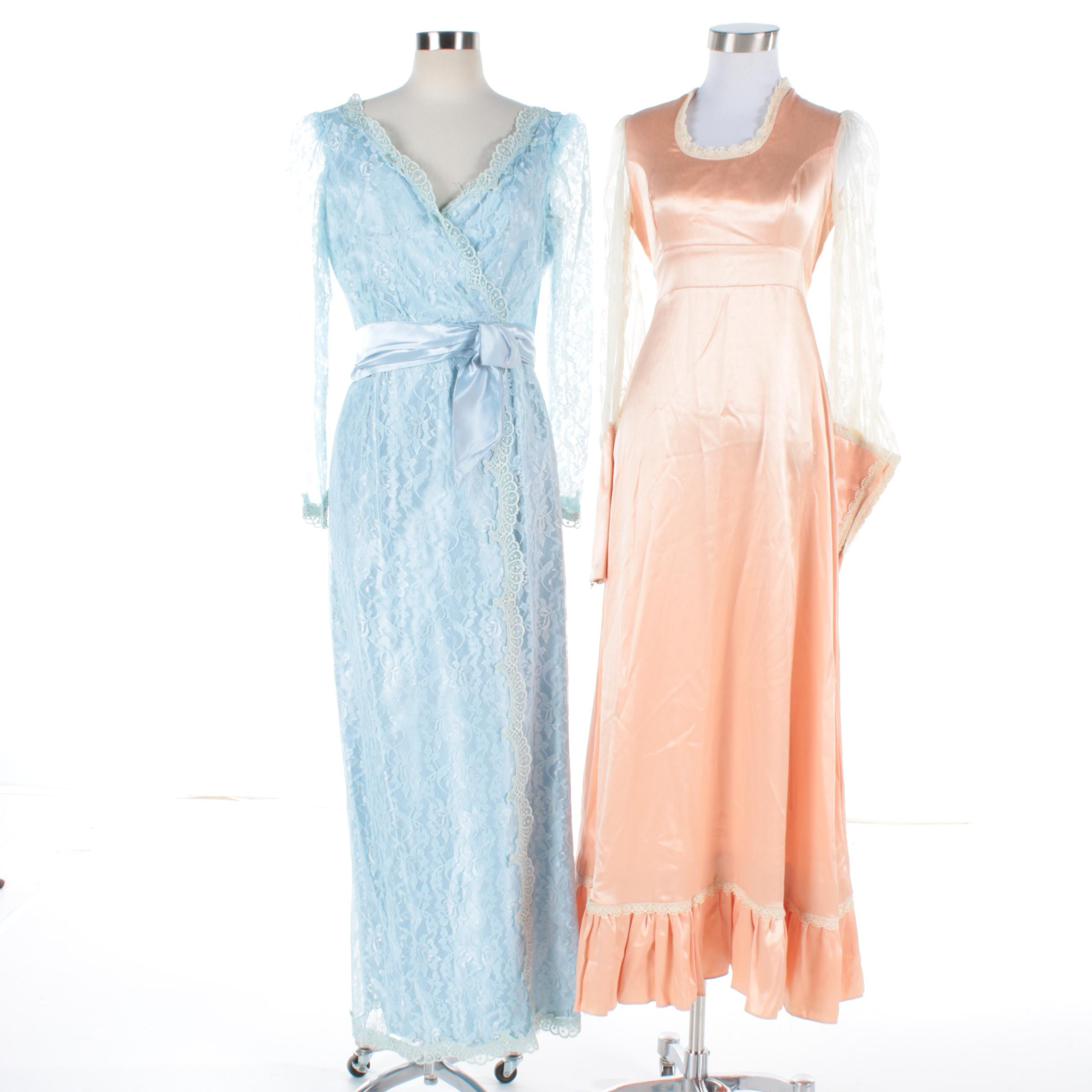 Vintage Lace and Satin Formal Dresses