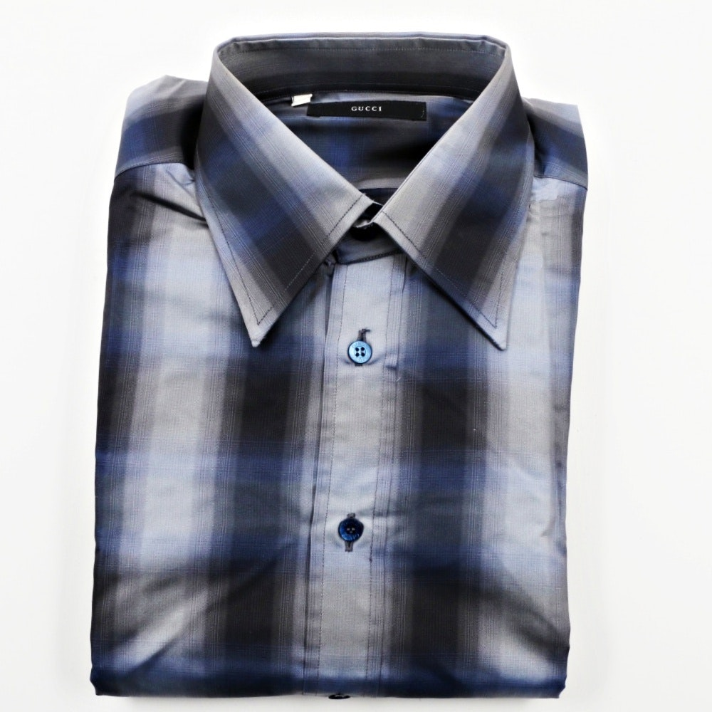 Mens Gucci Silk Stripe Dress Shirt, Made in Italy
