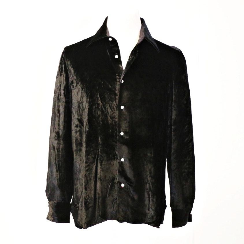 Men's Vintage Valentino Boutique Black Velvet Shirt