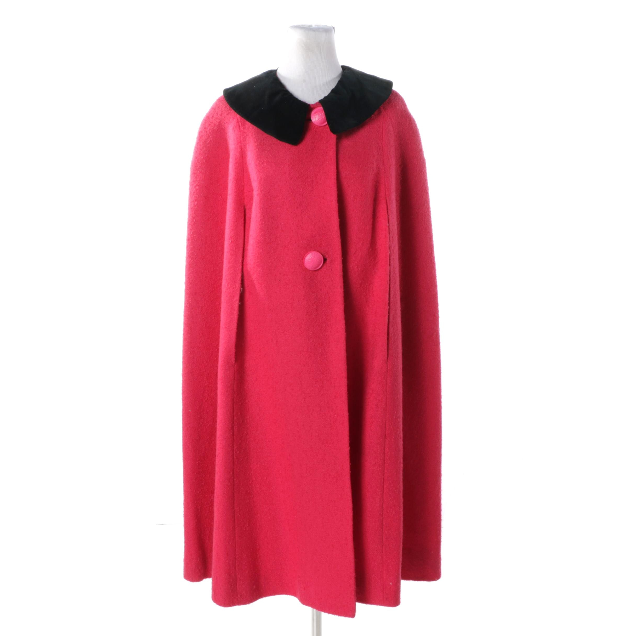 Women's Vintage Red Boucle Wool Cape