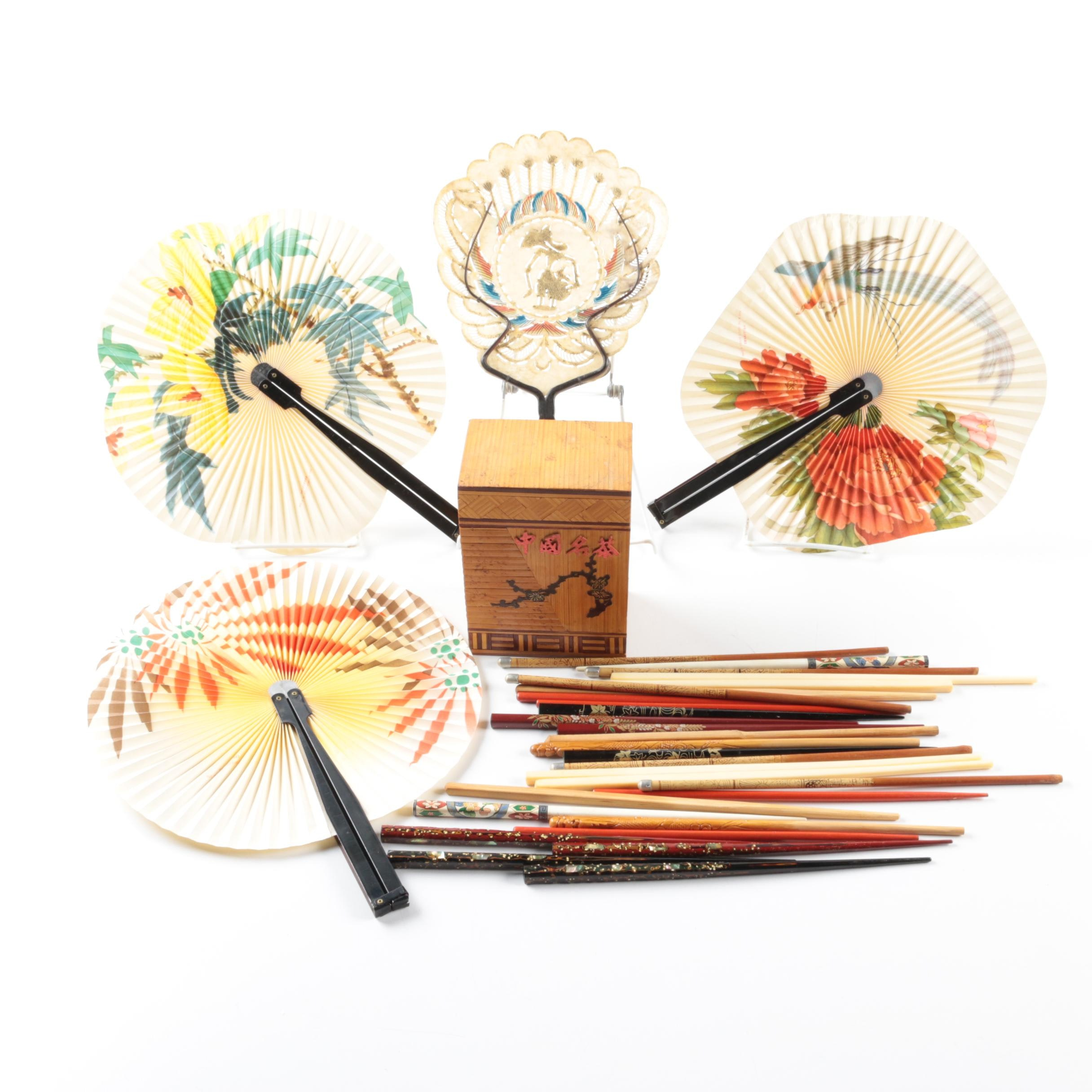 Bamboo Trinket Box with Chopsticks and Hand Fans