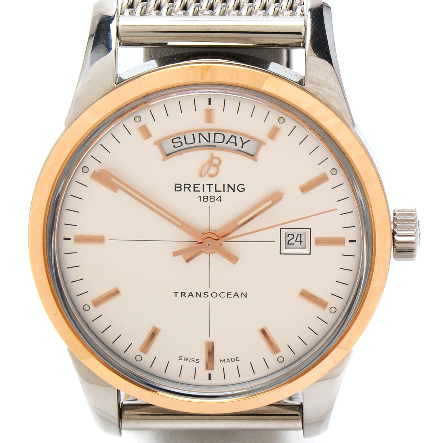 Breitling Limited Edition Transocean 18K Gold and Steel Automatic Wristwatch