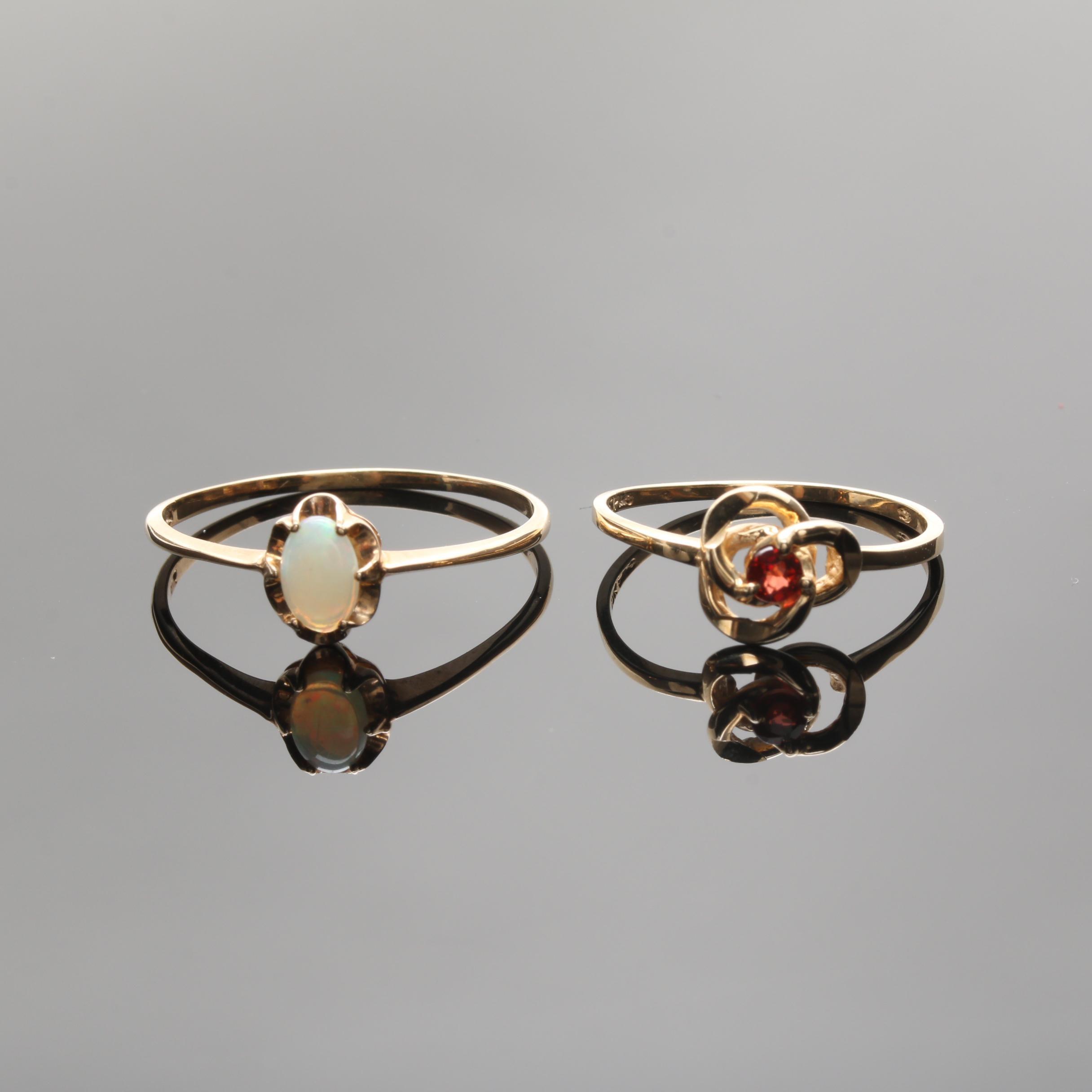 10K Yellow Gold Opal and Garnet Rings