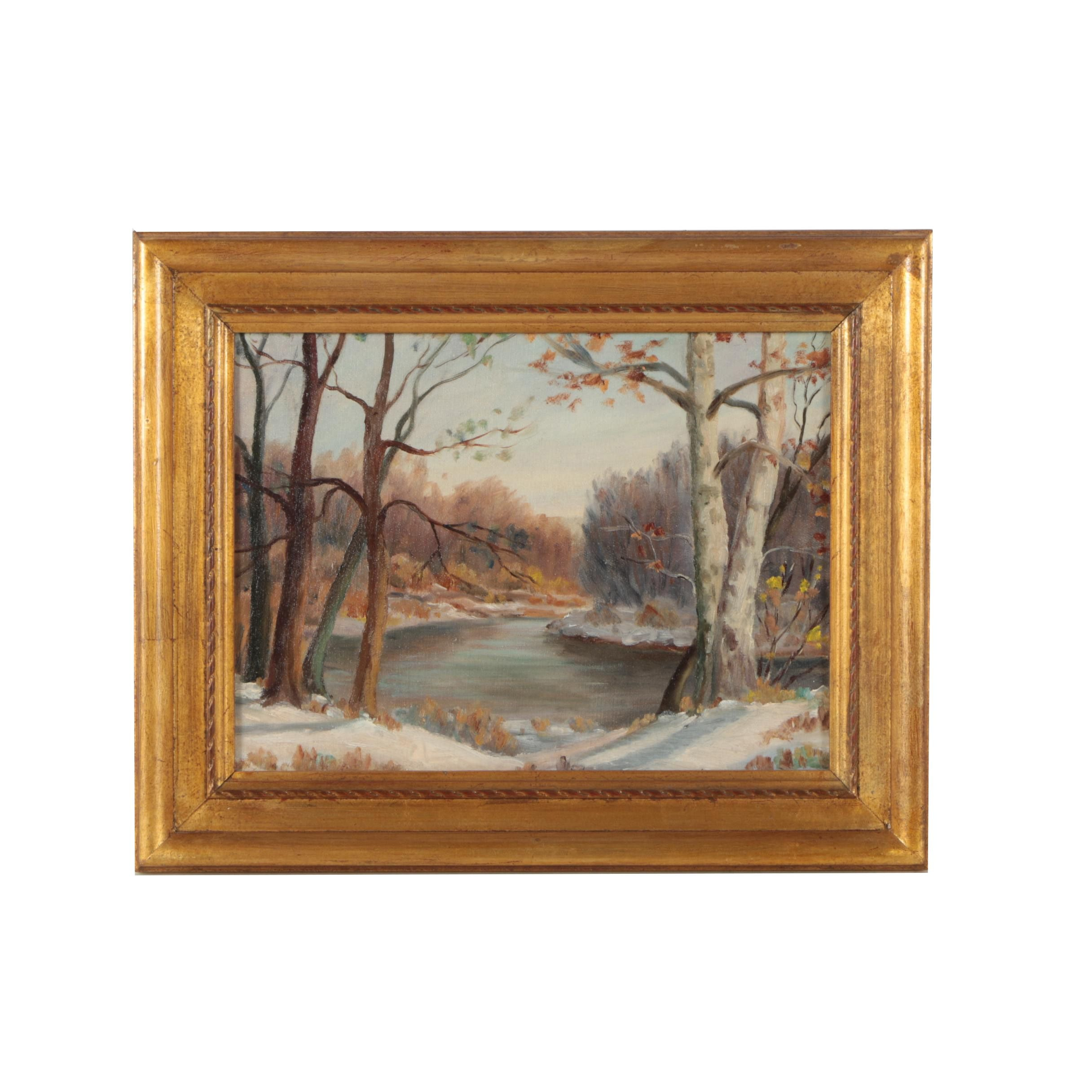 "1944 Pauline Hinkle Oil Painting ""Fall Creek by Millersville"""