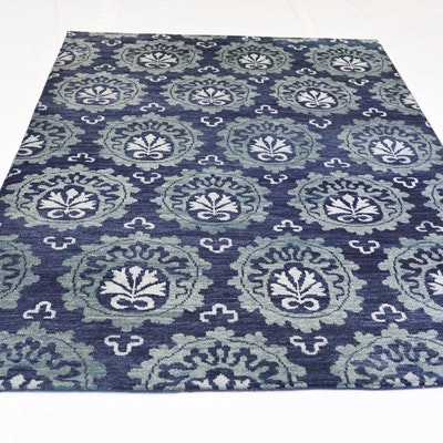 Hand-Knotted Transitional Indian Wool Area Rug