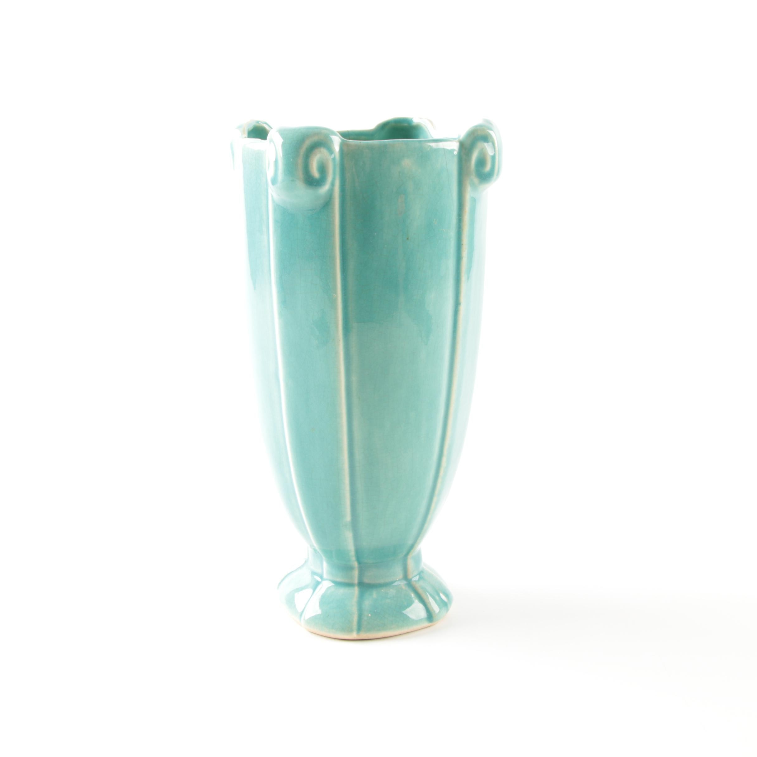 McCoy Turquoise Column Scroll Vase