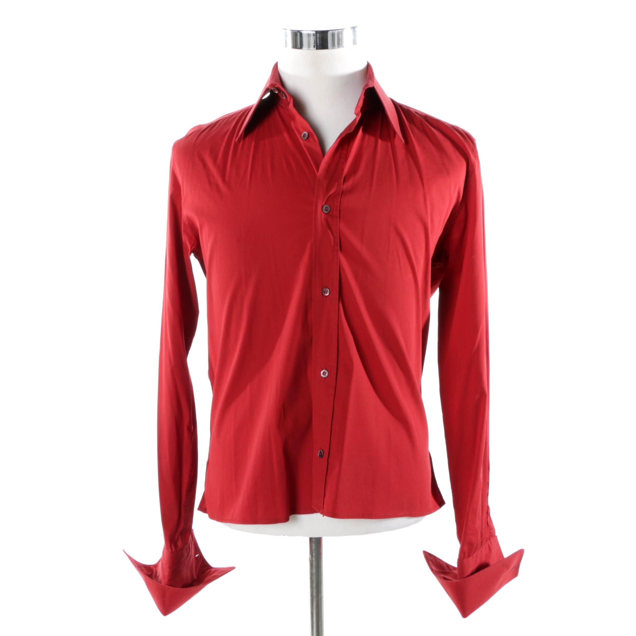 Men's Gucci Red Silk Blend Button-Front Shirt with Dyed Mother of Pearl Buttons