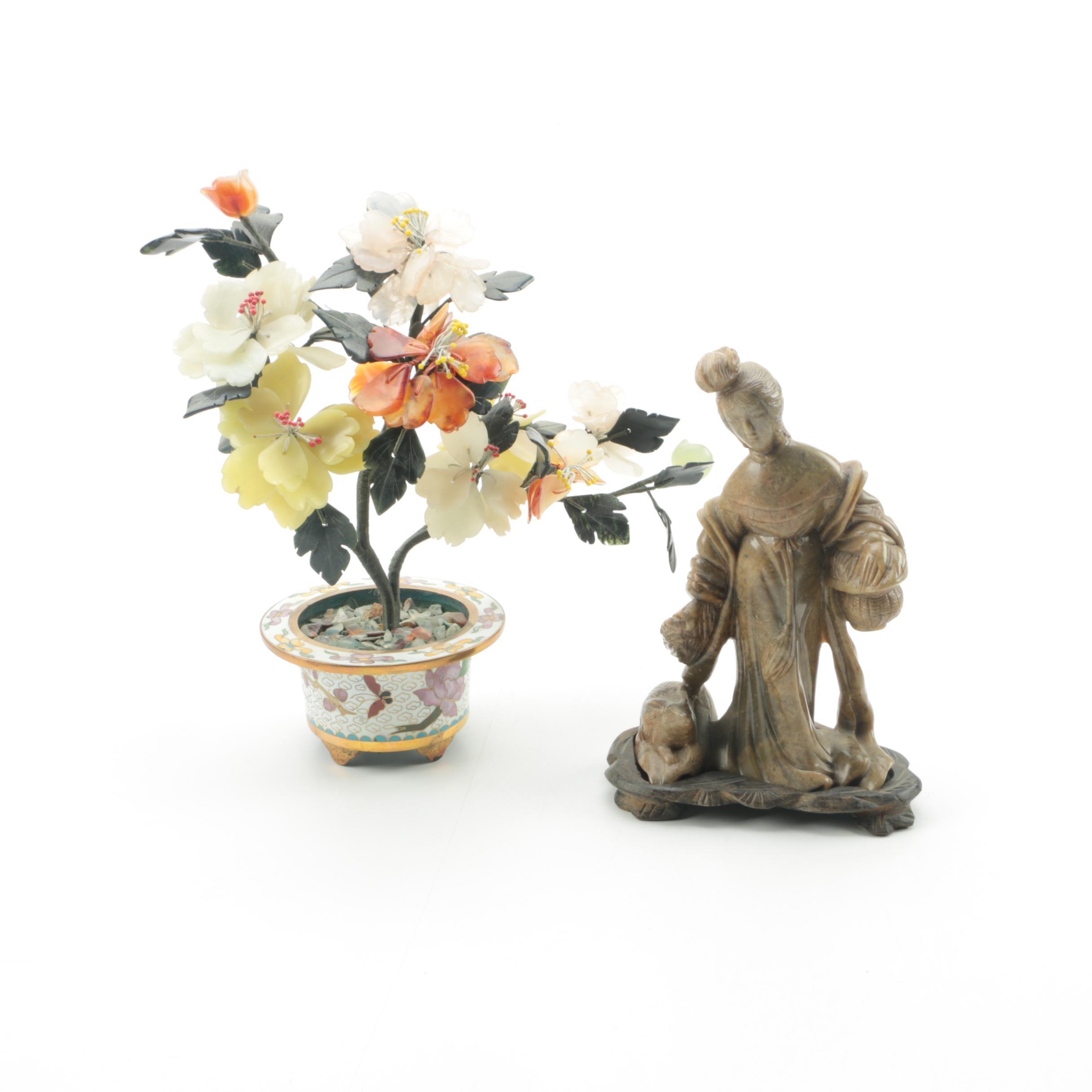 Soapstone Figurine and Quartz Tree