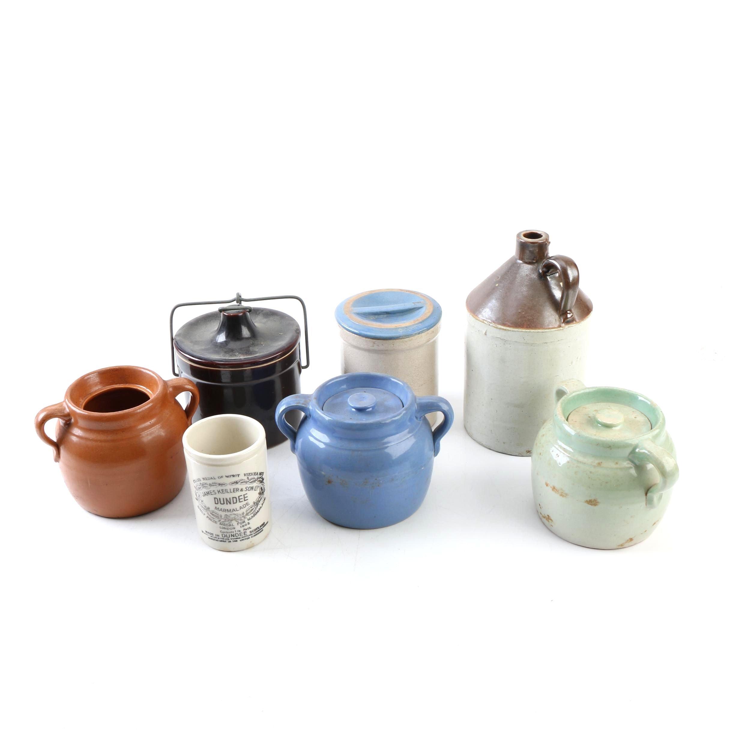 Vintage Stoneware Kitchenware including UHL Stoneware Crock