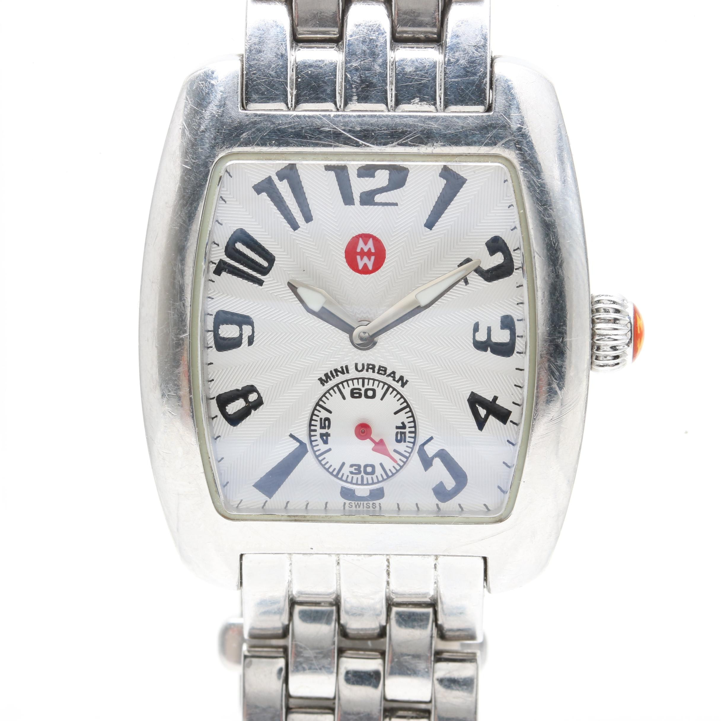 "Michele ""Mini Urban"" Silver Tone Wristwatch"