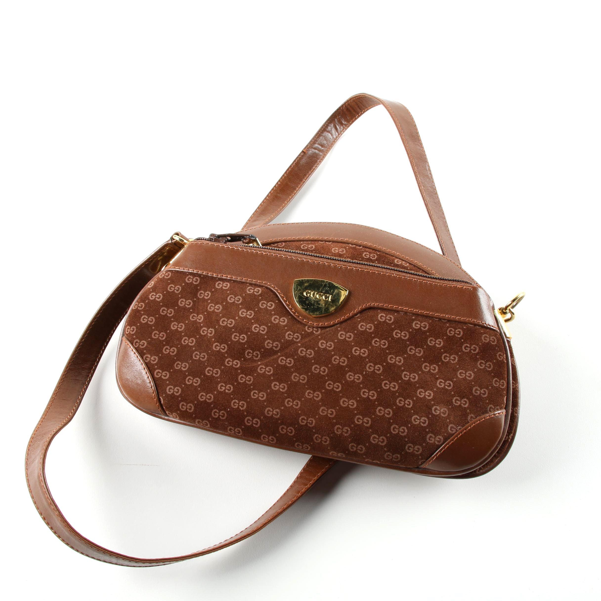 Vintage Gucci Brown Monogram Suede Crossbody Bag