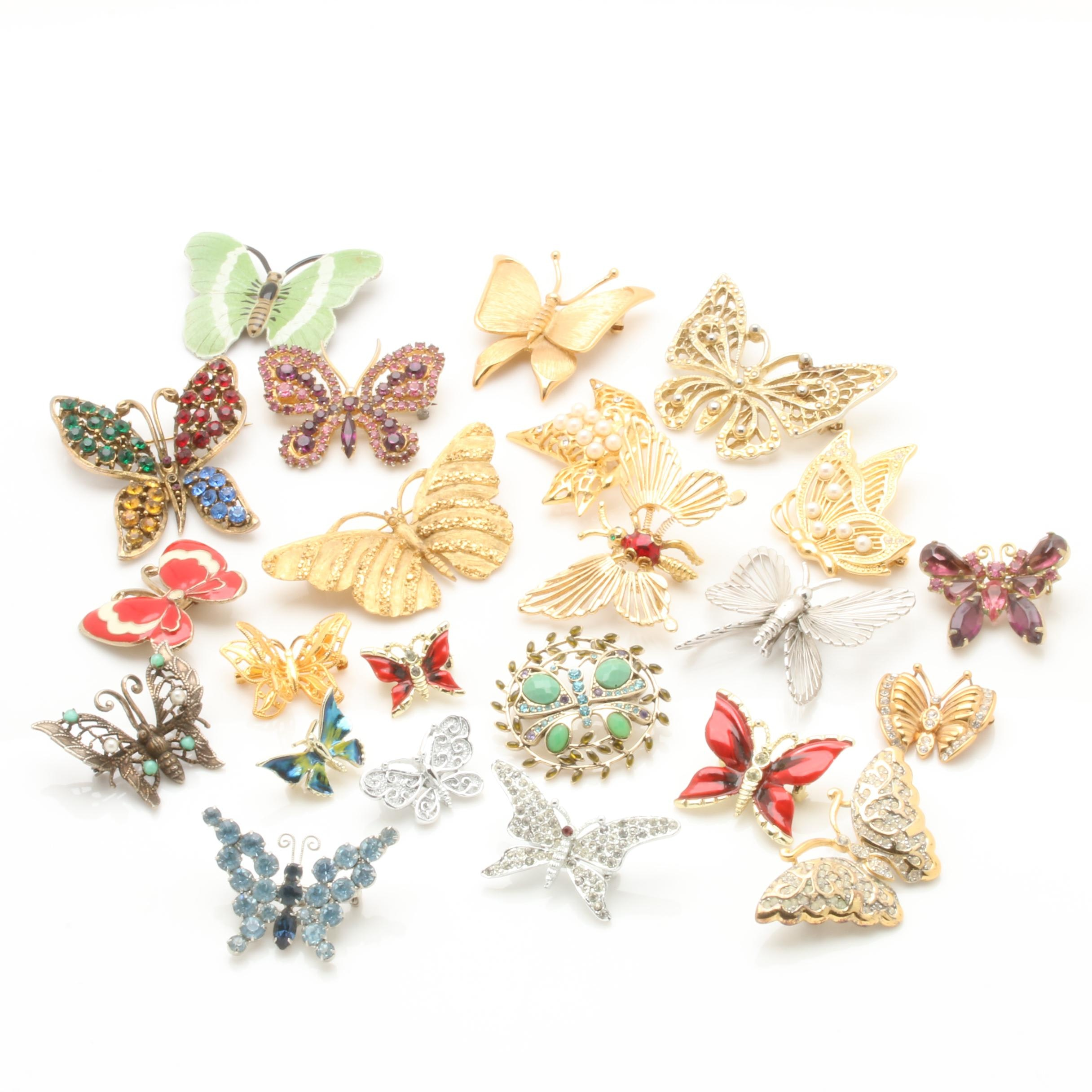 Assorted Enamel and Faceted Glass Butterfly Brooches