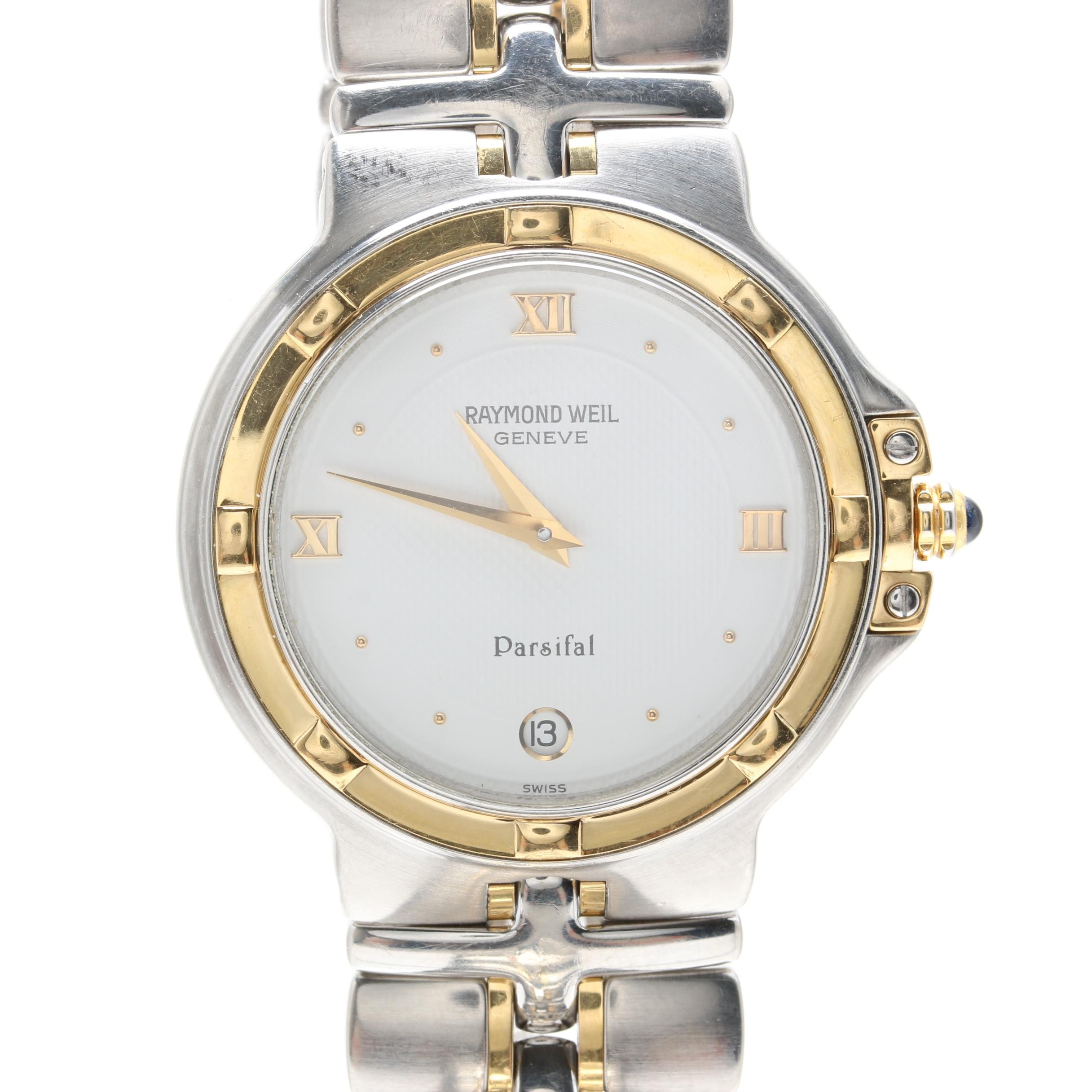 Raymond Weil Parsifal Silver Tone and 18K Gold Wristwatch