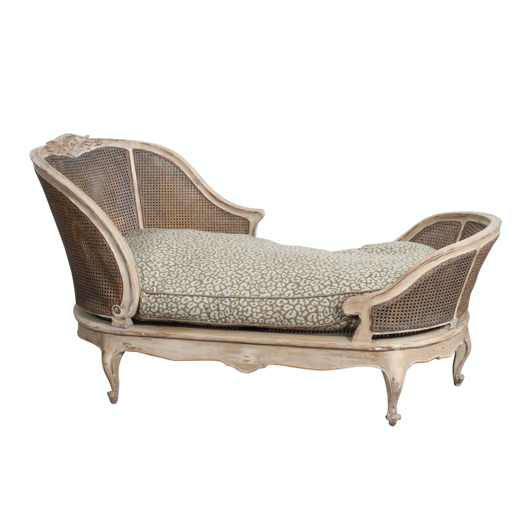 Louis XV Style Caned Chaise Lounge