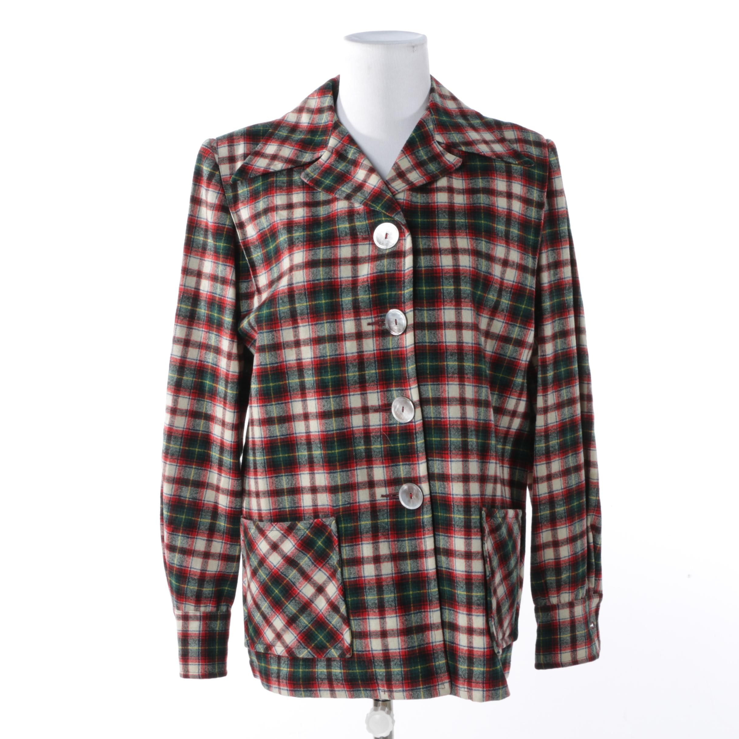Women's Pendleton Plaid Wool Shirt Jacket