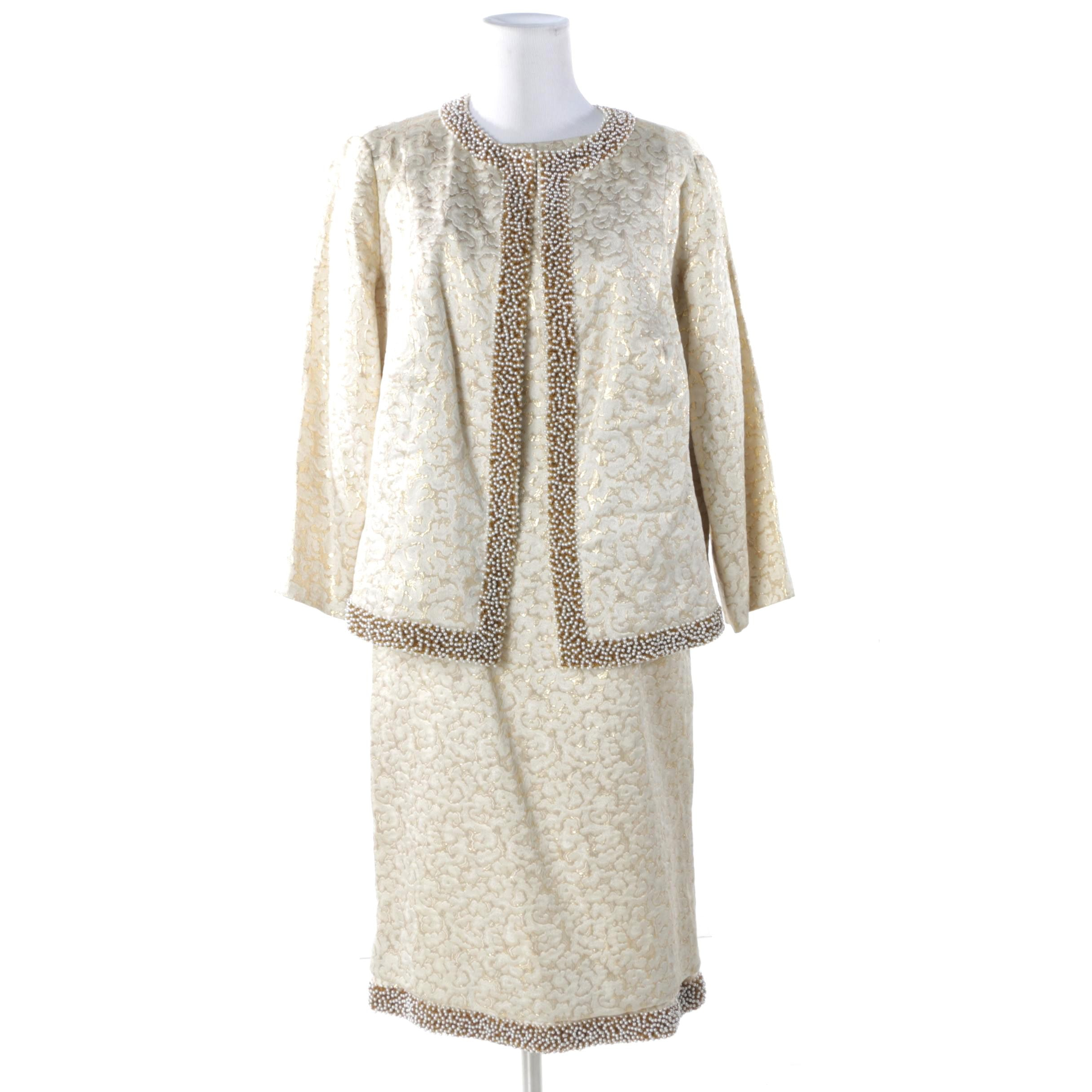 Vintage Doreen Loh Beaded Brocade Dress Suit from Hilton Hotel in Hong Kong