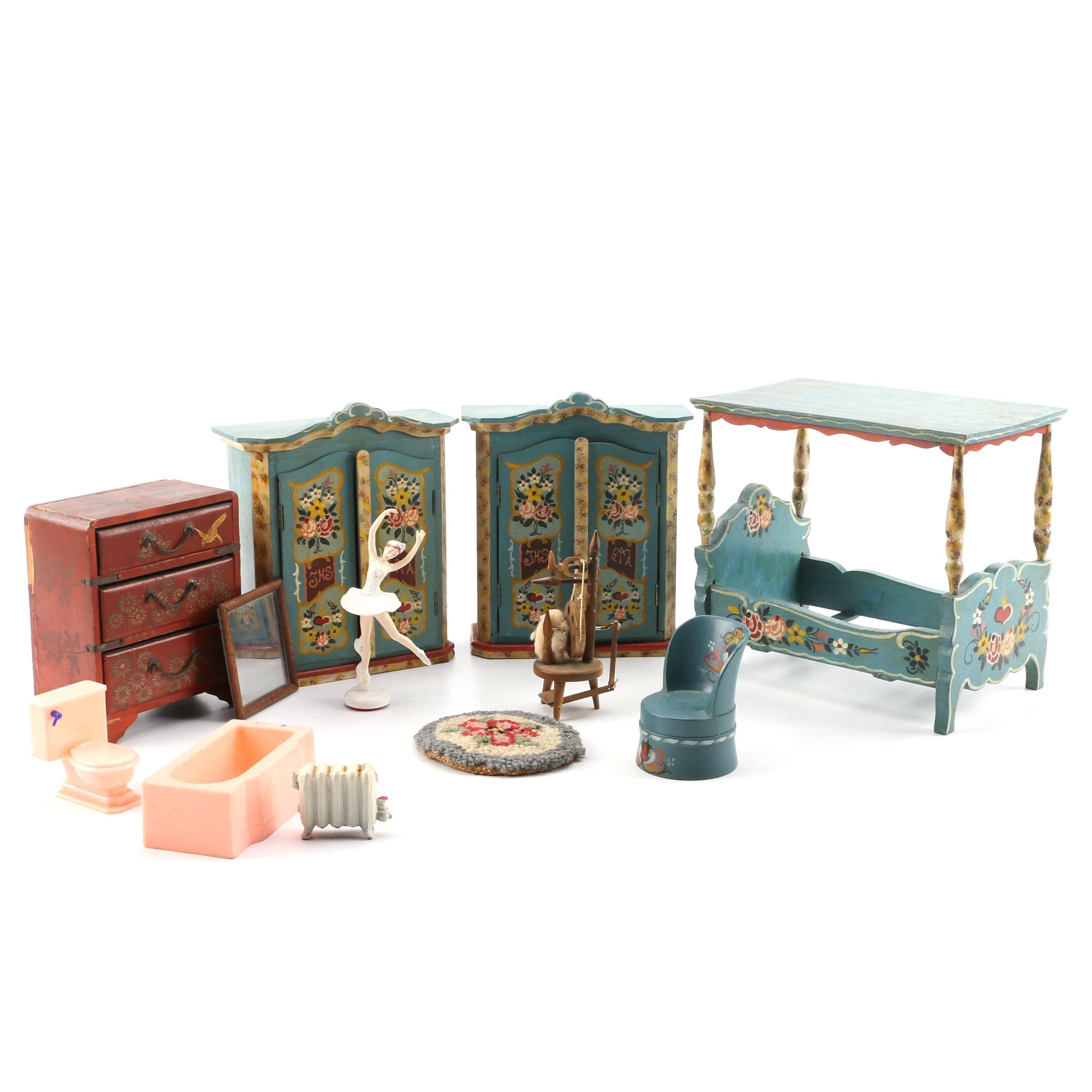 Vintage Hand-Painted Dollhouse Furniture and Renwal Bath Set