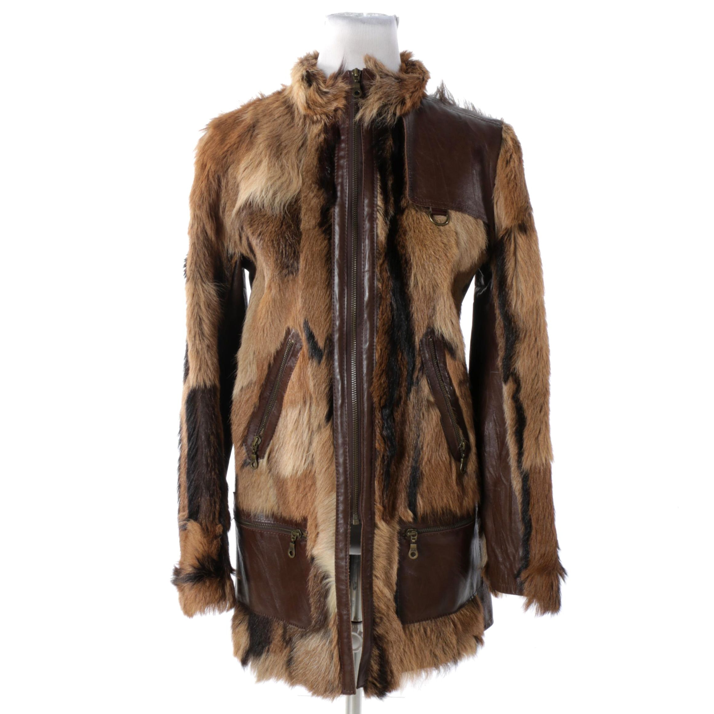 Women's Brown Goat Fur and Leather Coat