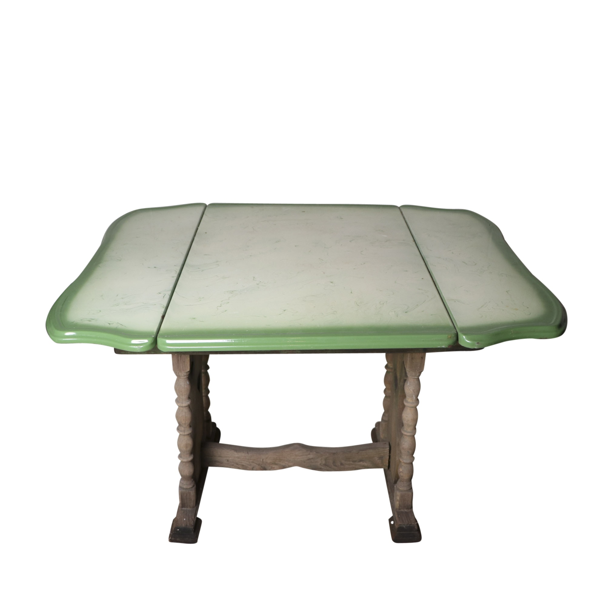Beau Vintage Wood Trestle Table With Enameled Tin Top ...
