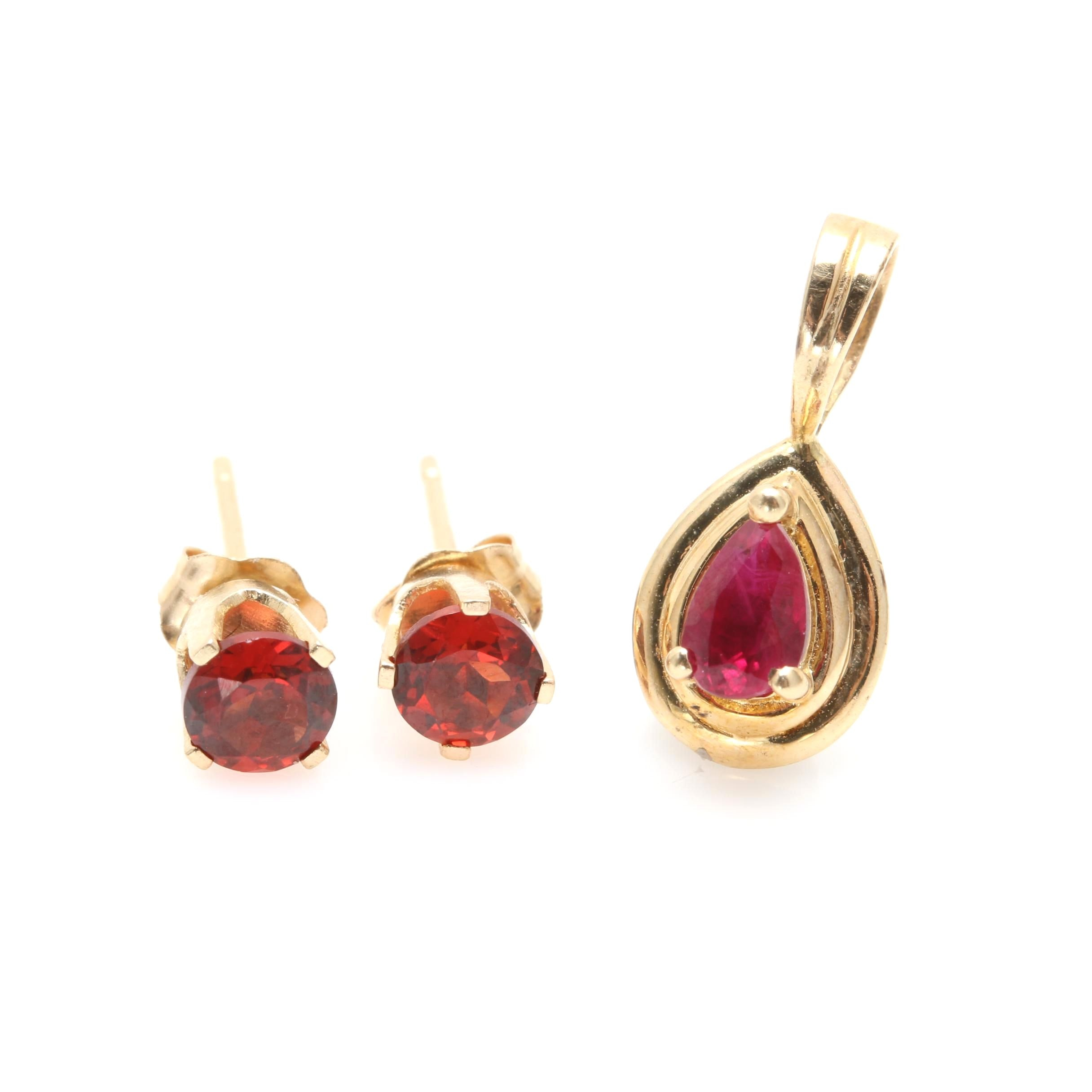 14K Yellow Gold Garnet Earrings and Ruby Pendant