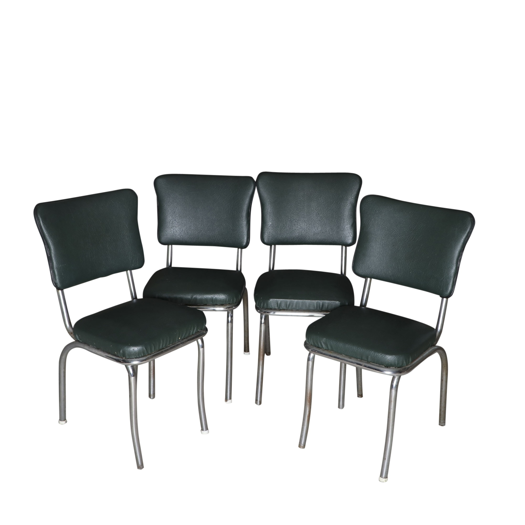 Four 1950s Chrome and Vinyl Chairs
