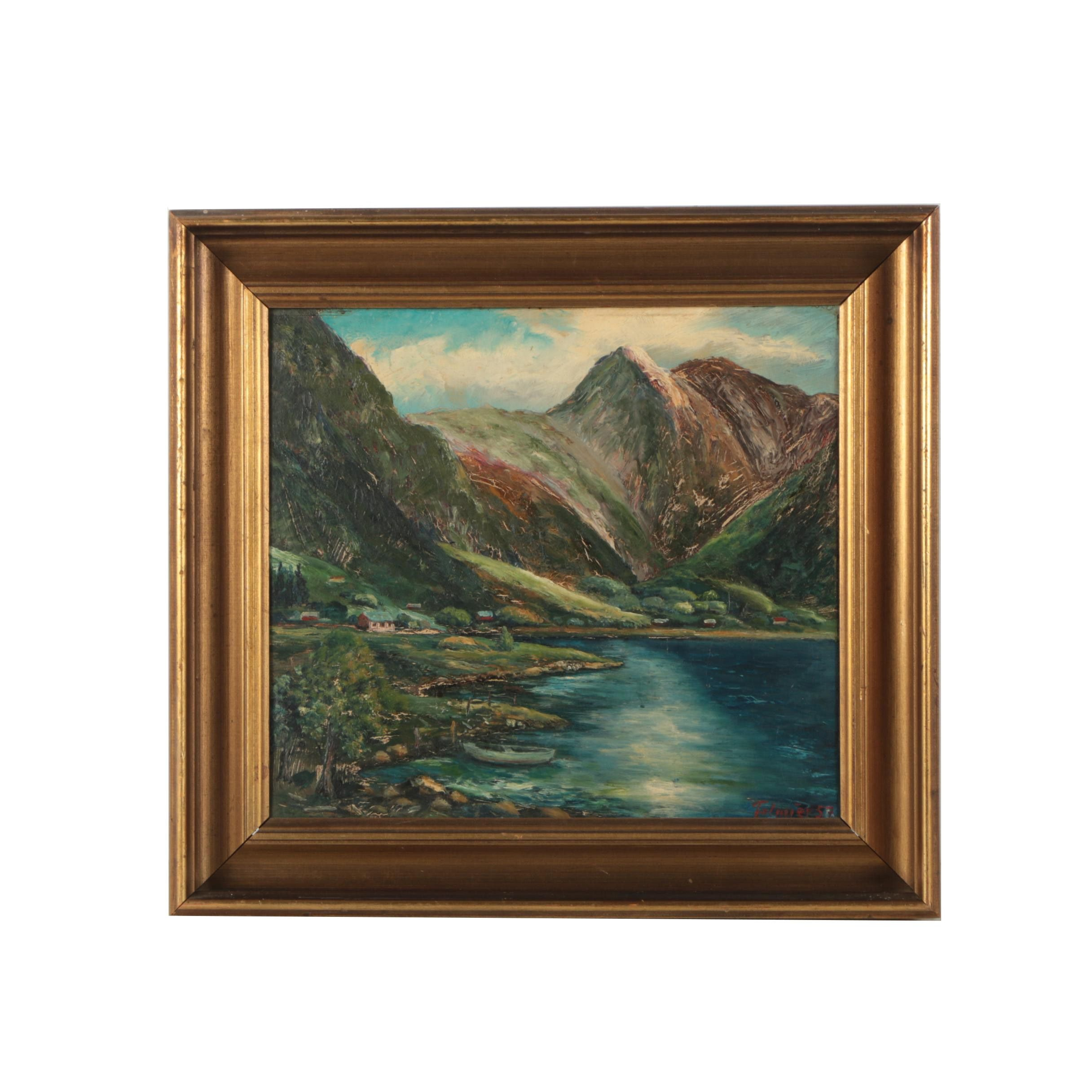 Oil Painting of a Mountain Lake