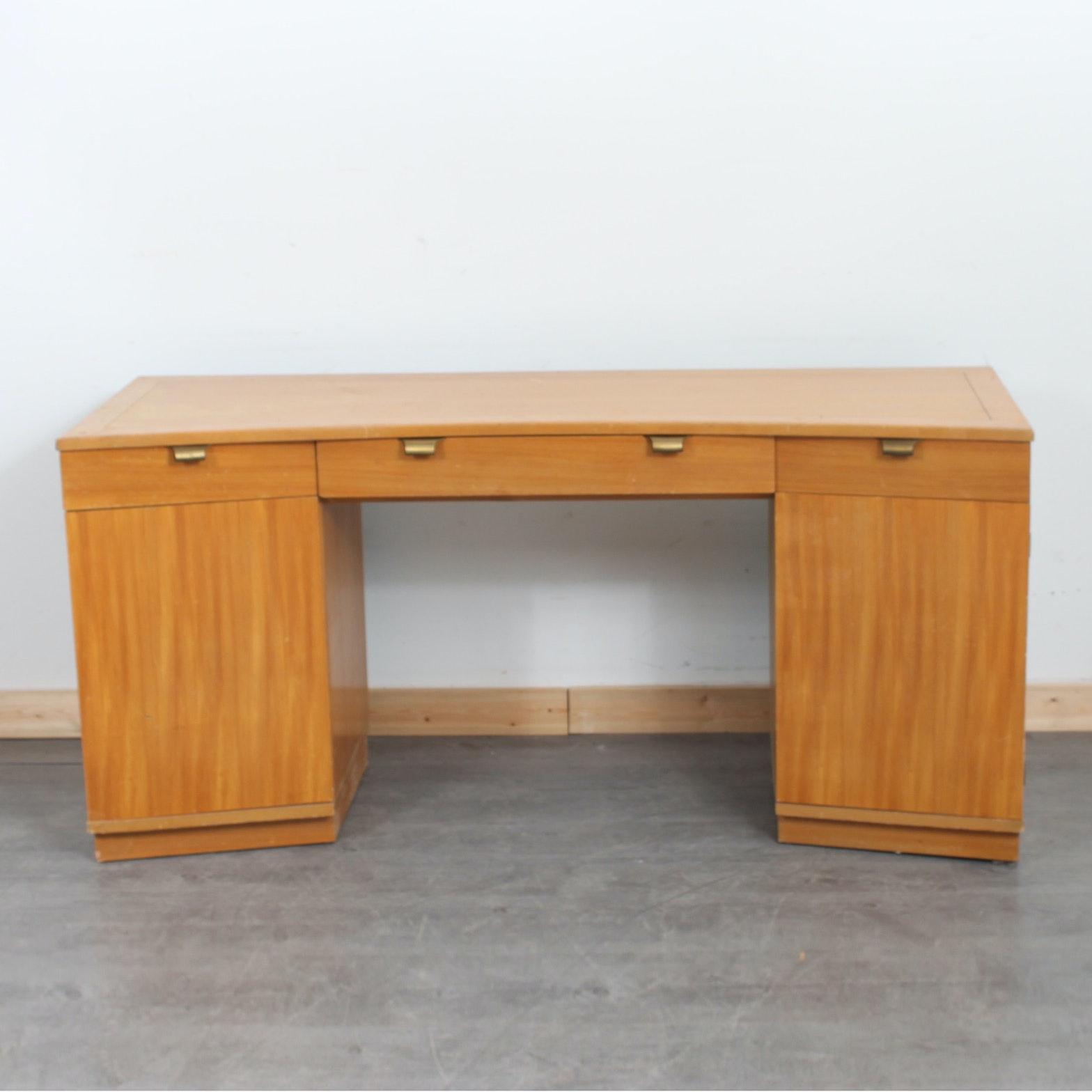 Mid Century Modern Bleached Walnut Desk