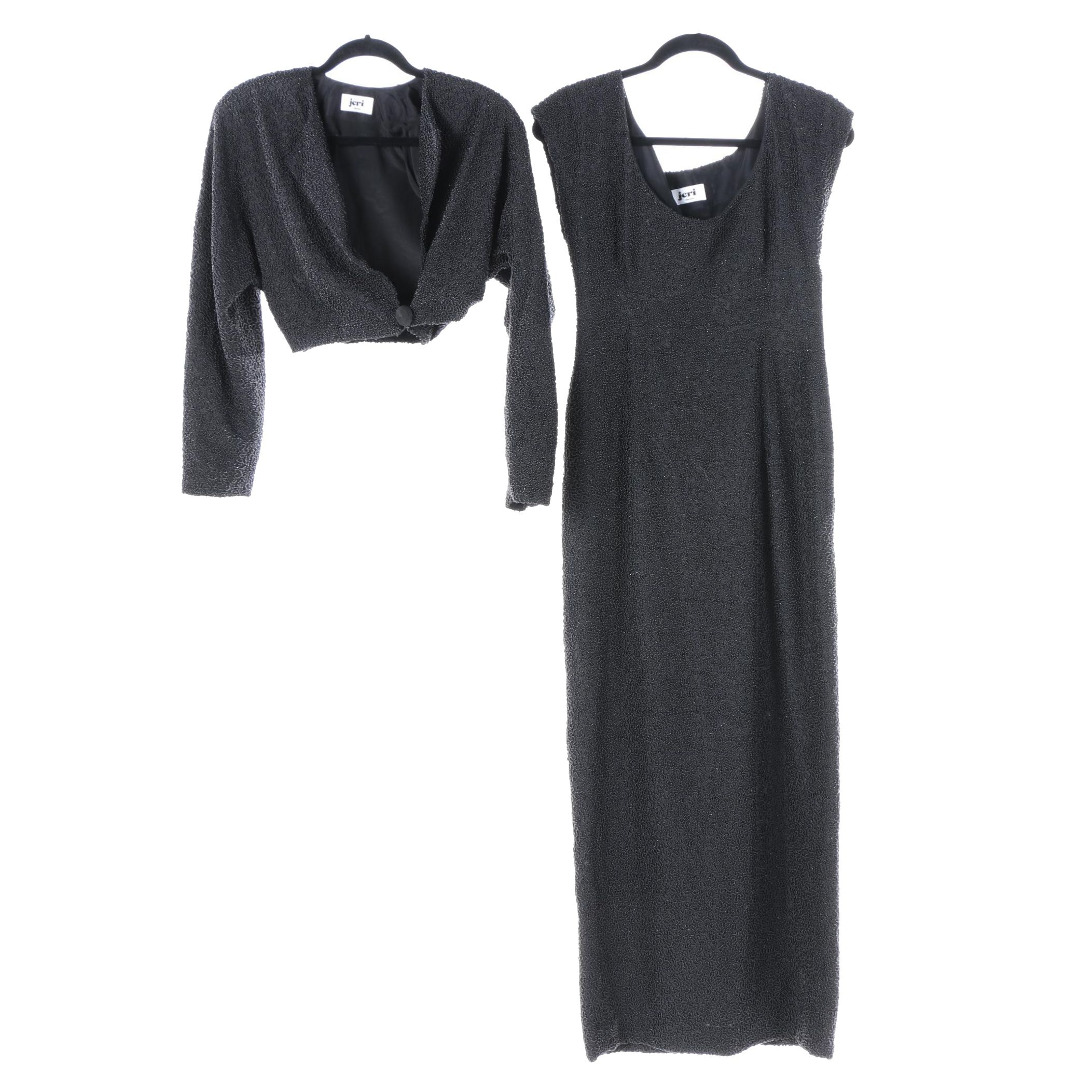 Women's Jeri of Chicago Black Beaded Evening Gown and Jacket