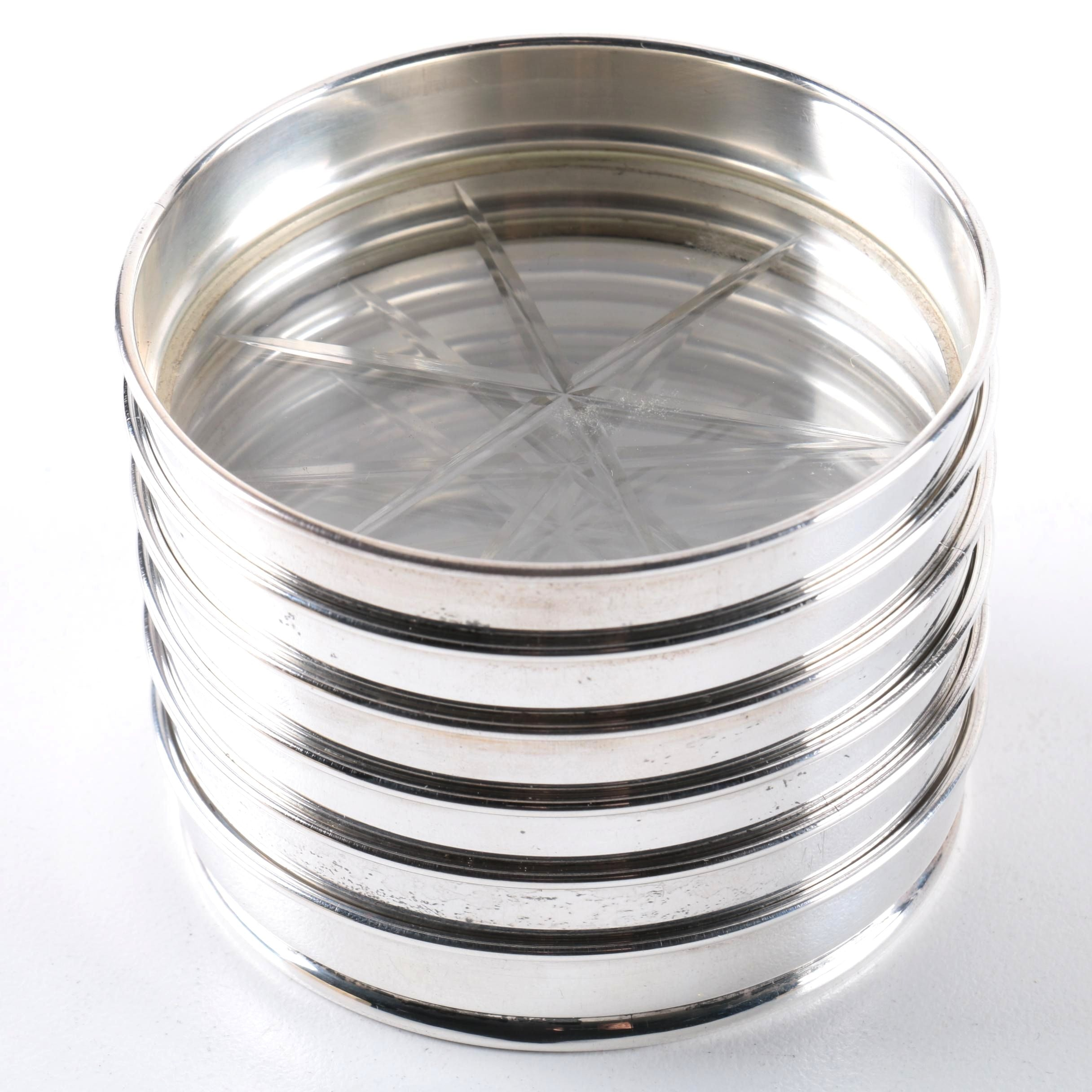 Gorham Glass and Sterling Silver Rimmed Coasters