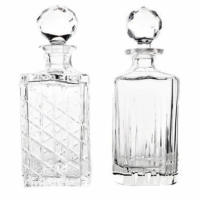 Crystal Decanters with Faceted Stoppers