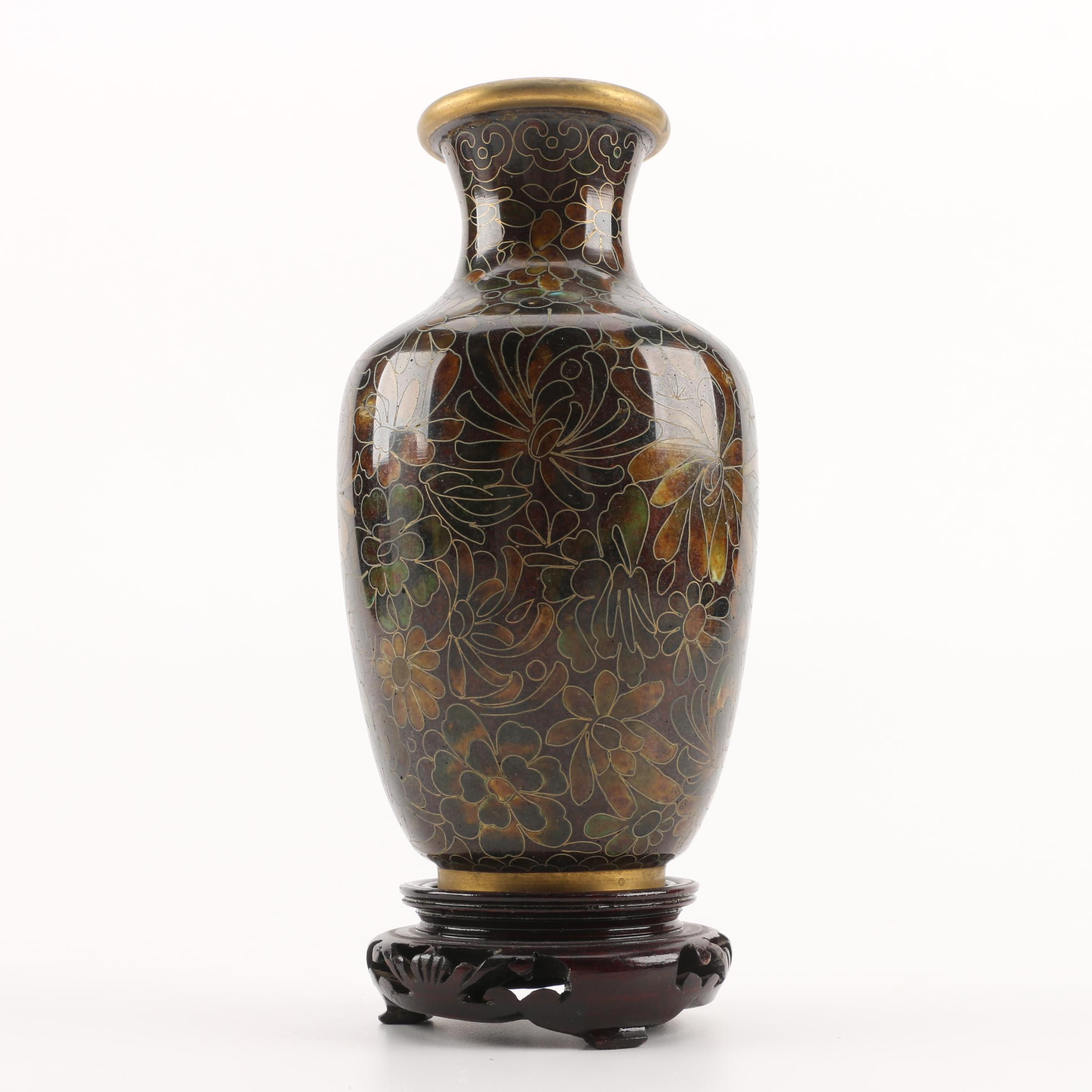 Japanese Cloisonné Floral Vase with Wooden Stand