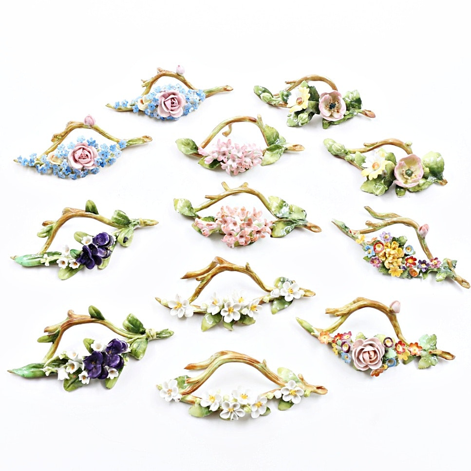 Twelve Antique Porcelain Floral Place Card Holders, Hand Painted in Germany