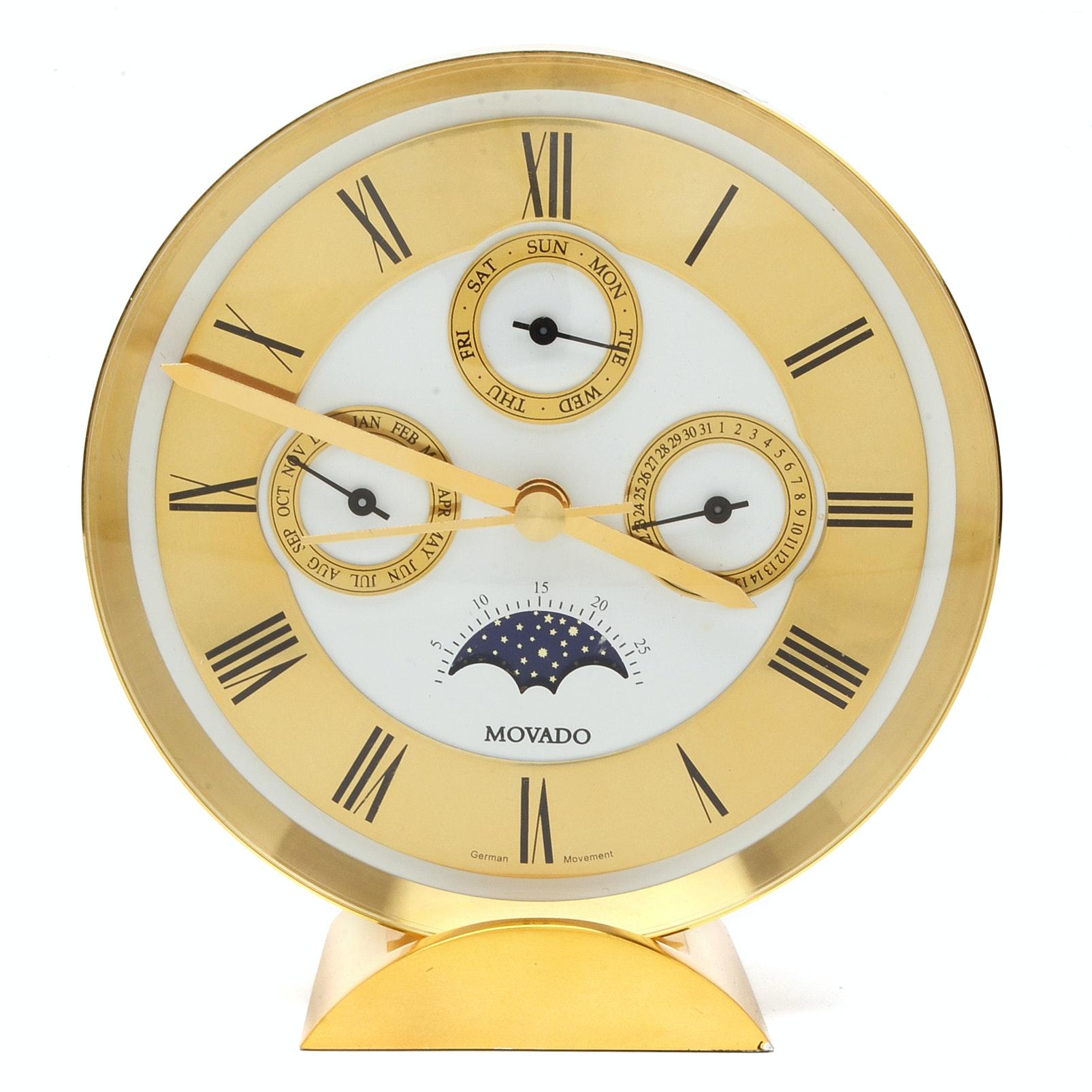 Movado Triple Calendar Moon Phase Brass Desk Clock with German Movement